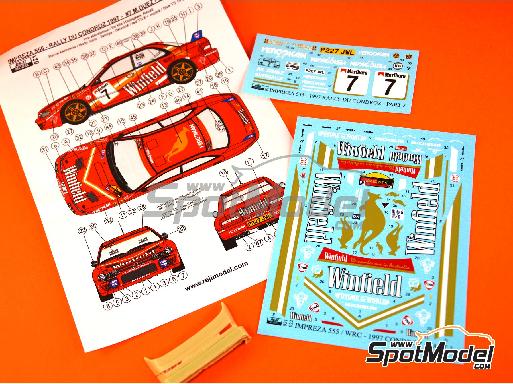 Image 1: Subaru Impreza WRX - Condroz Rally 1997 | Marking / livery in 1/24 scale manufactured by Reji Model (ref. REJI-021)