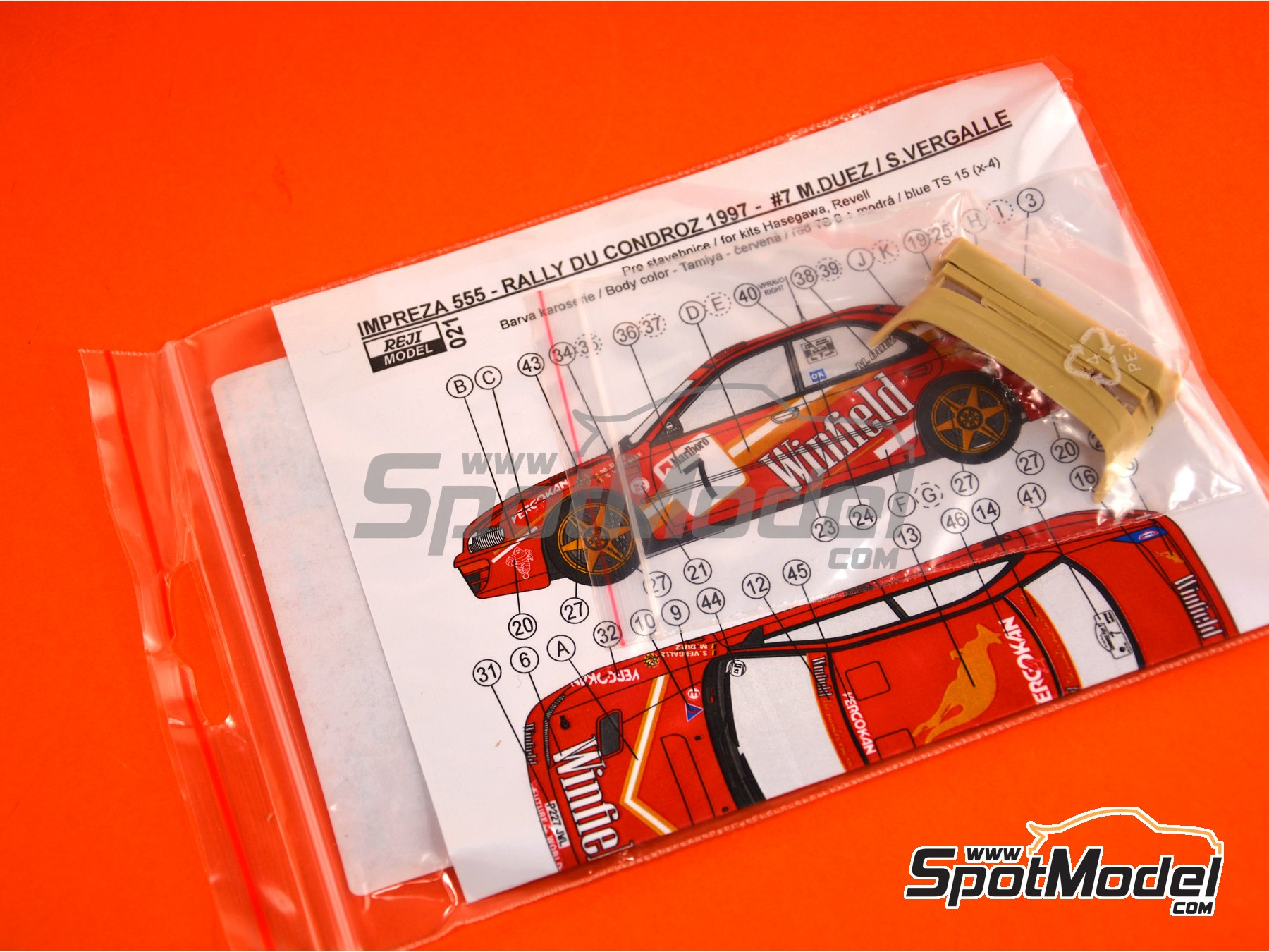 Image 8: Subaru Impreza WRX - Condroz Rally 1997 | Marking / livery in 1/24 scale manufactured by Reji Model (ref. REJI-021)