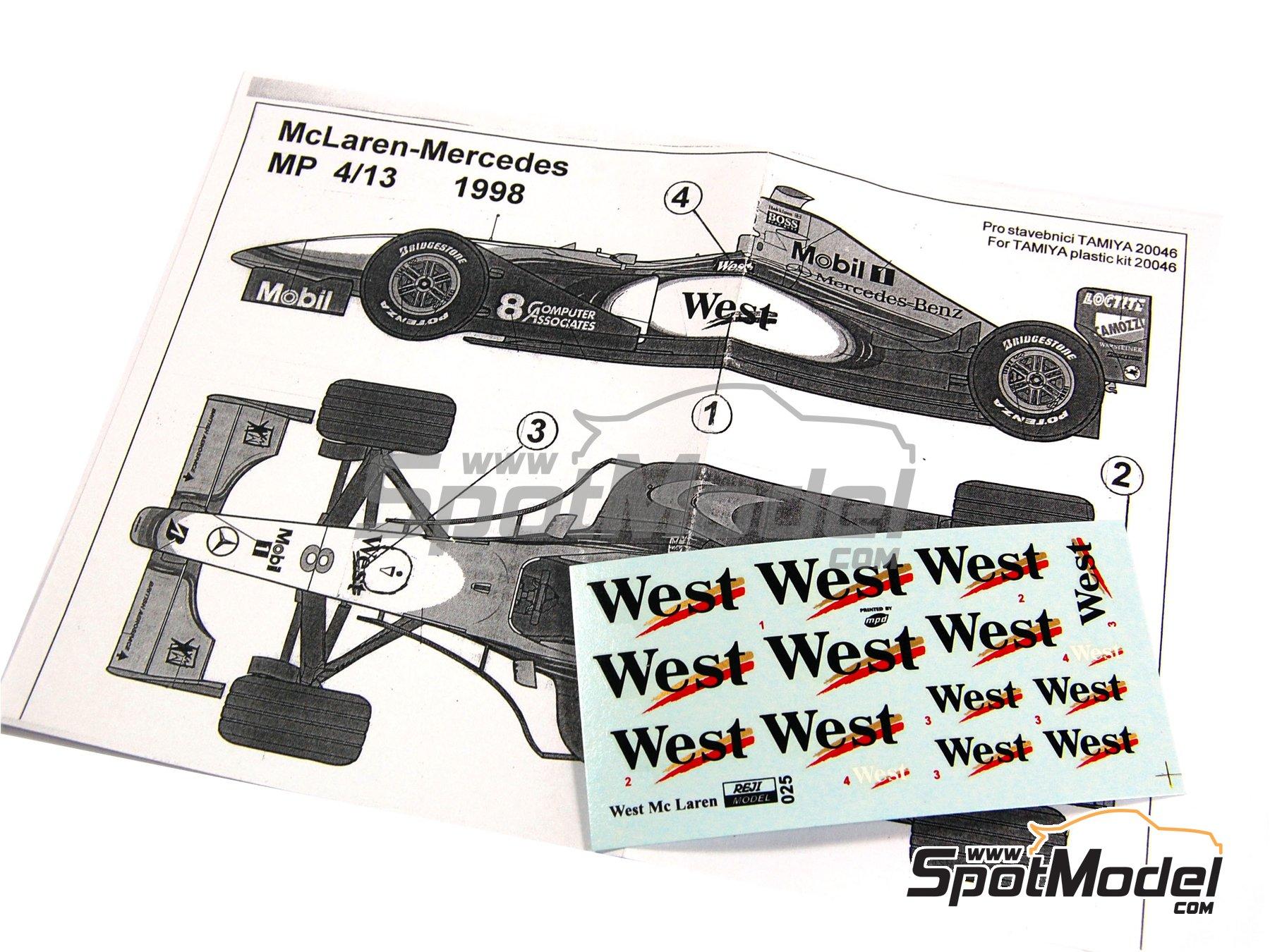 Image 3: McLaren Mercedes MP4/13 West - Campeonato del Mundo de Formula1 1998 | Decoración en escala1/20 fabricado por Reji Model (ref.REJI-025)