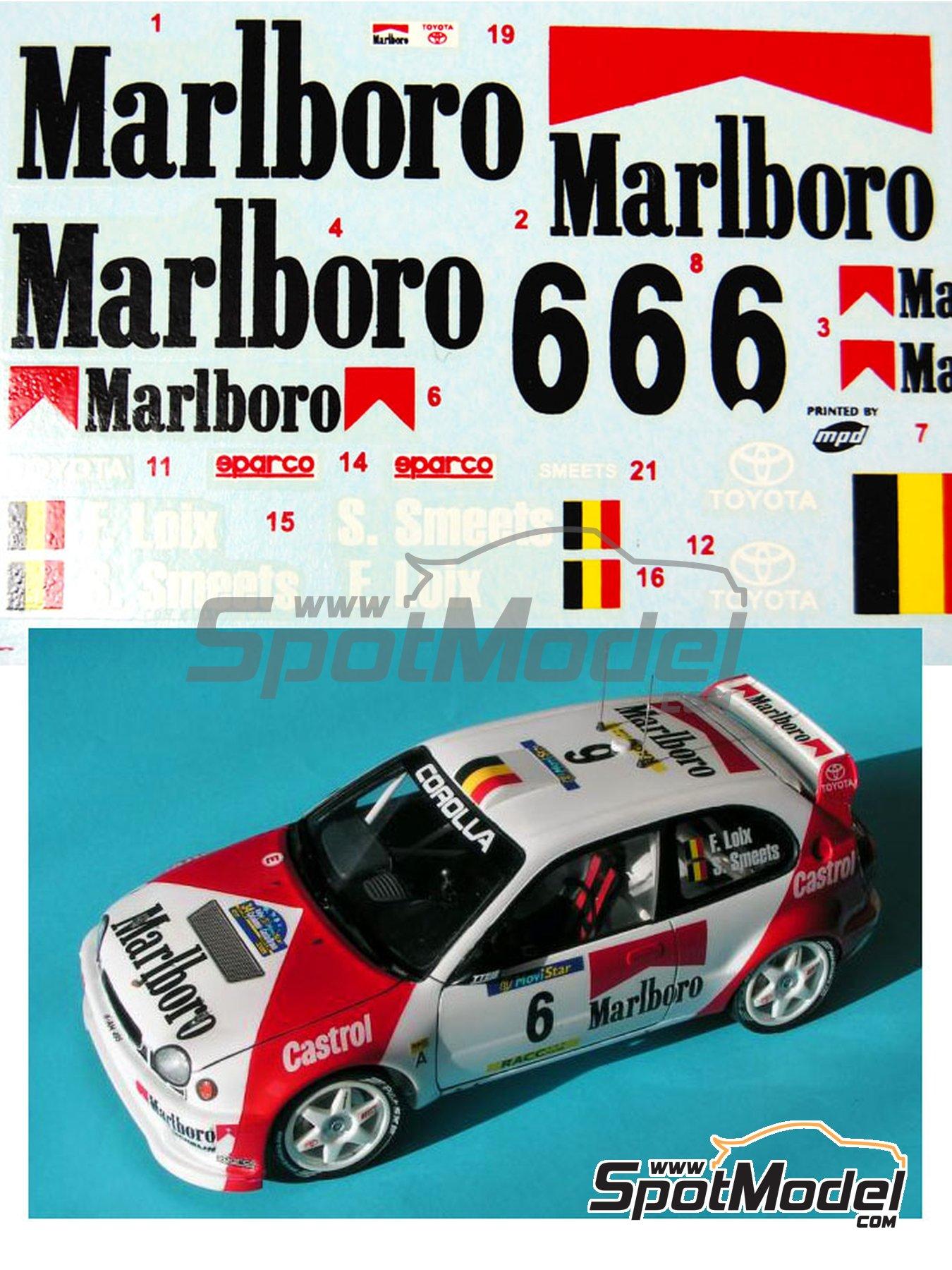 Toyota Corolla WRC Marlboro - Rally de Cataluña Costa Dorada RACC 1998 | Decoración en escala1/24 fabricado por Reji Model (ref.REJI-027) image