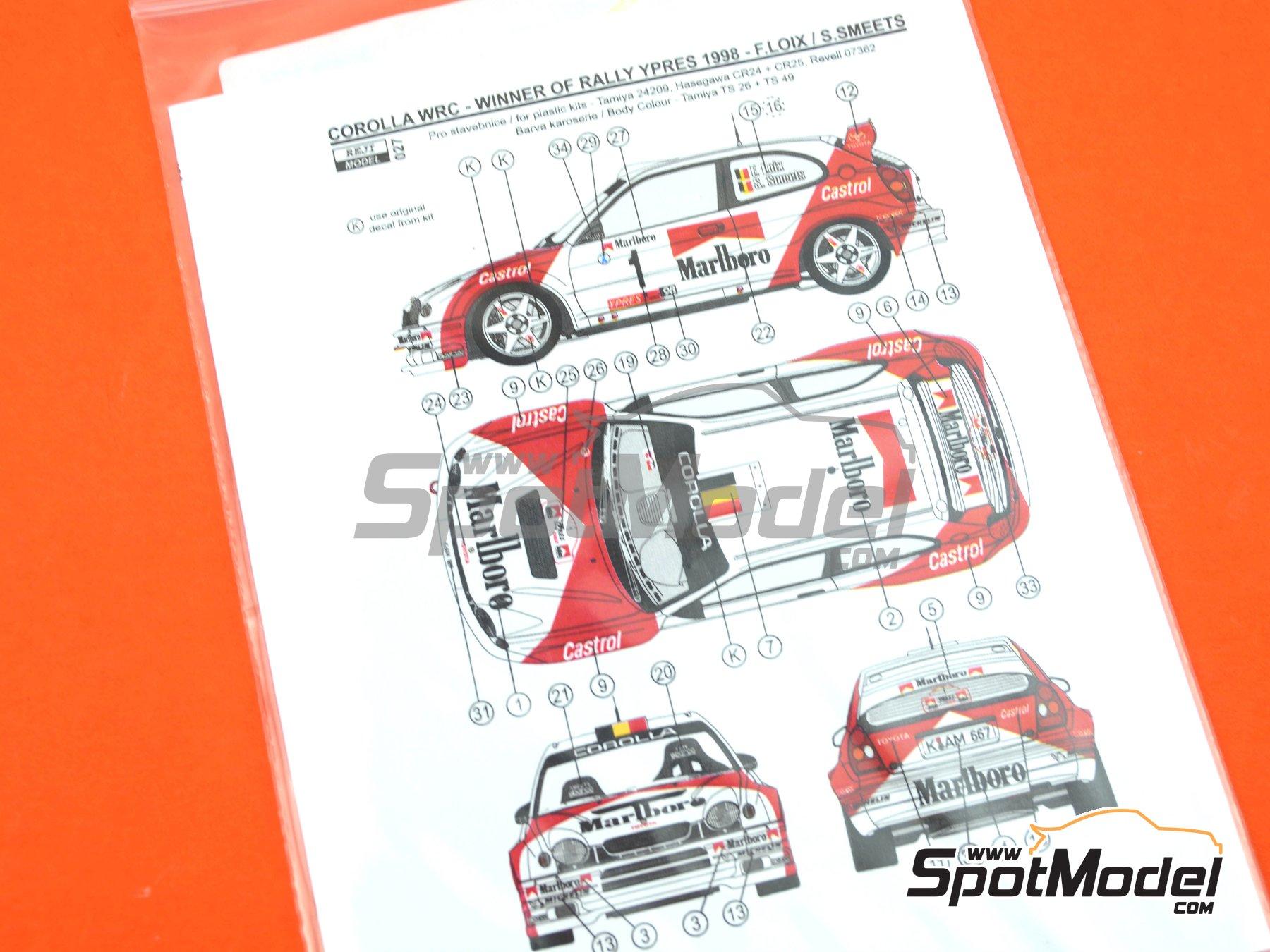 Image 2: Toyota Corolla WRC Marlboro - Rally de Cataluña Costa Dorada RACC 1998 | Decoración en escala1/24 fabricado por Reji Model (ref.REJI-027)