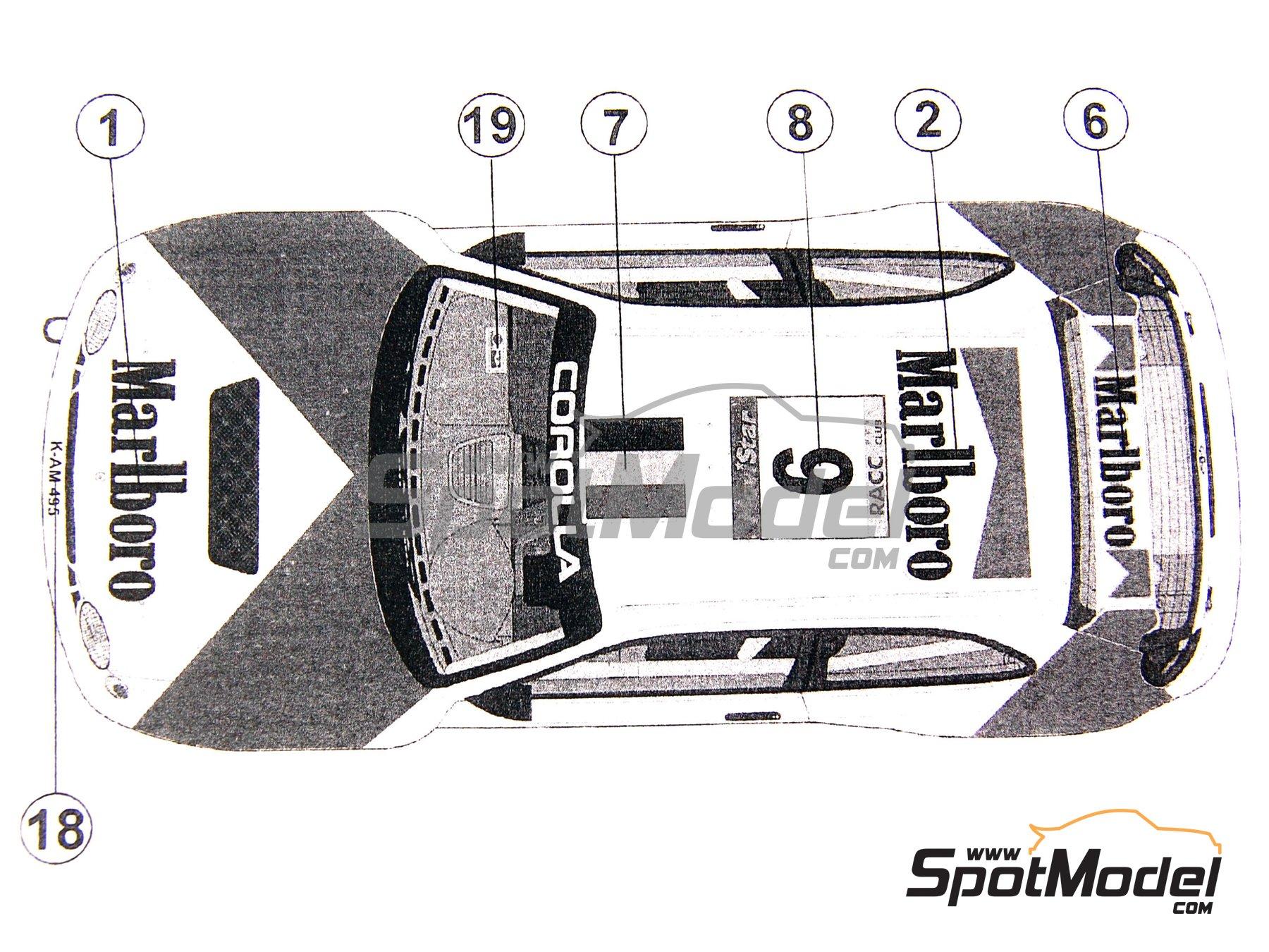Image 6: Toyota Corolla WRC Marlboro - Rally de Cataluña Costa Dorada RACC 1998 | Decoración en escala1/24 fabricado por Reji Model (ref.REJI-027)