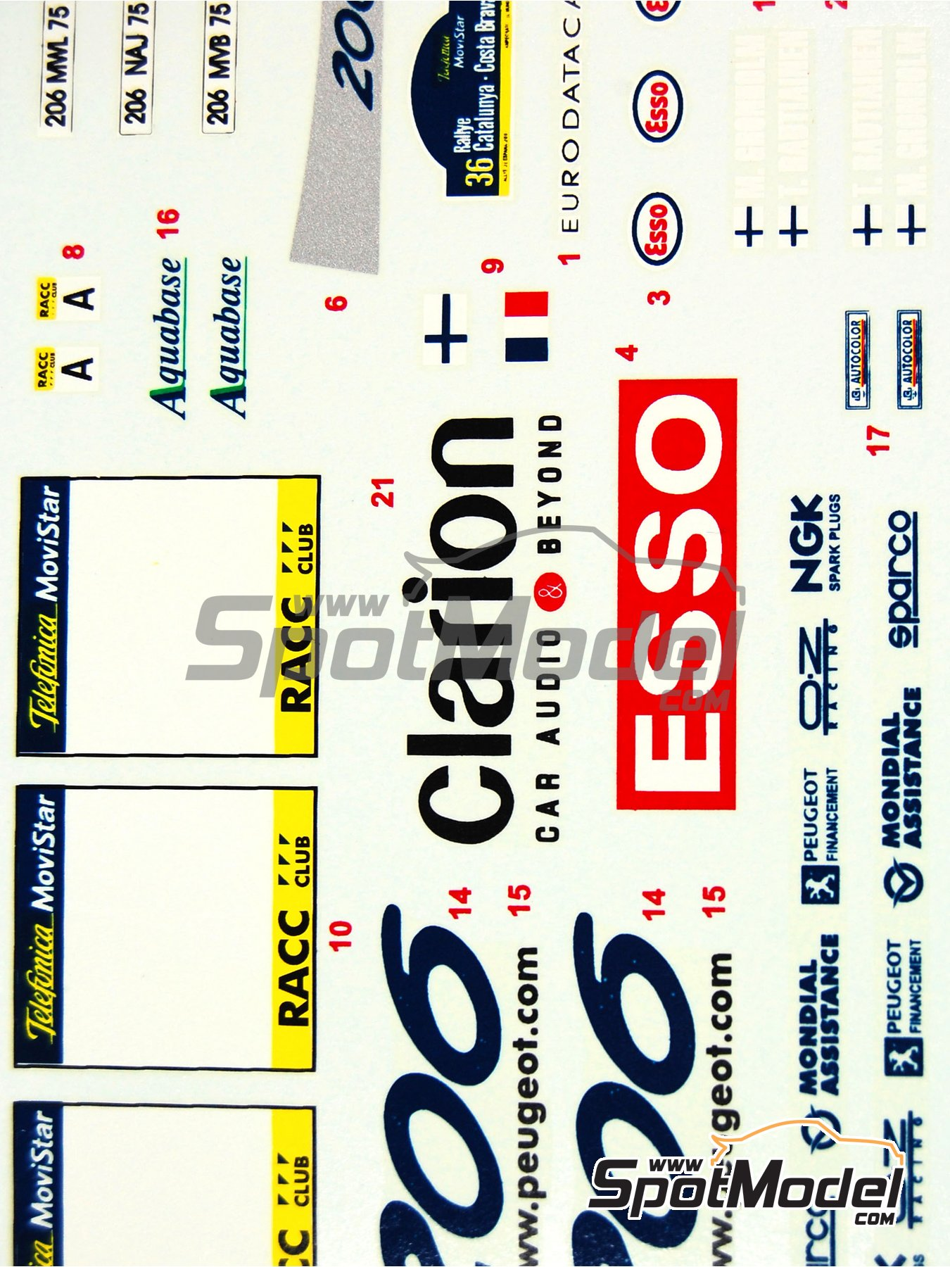 Peugeot 206 WRC Esso Ultron Clarion - Rally de Cataluña Costa Dorada RACC 2000 | Calcas de agua en escala1/24 fabricado por Reji Model (ref.REJI-031) image