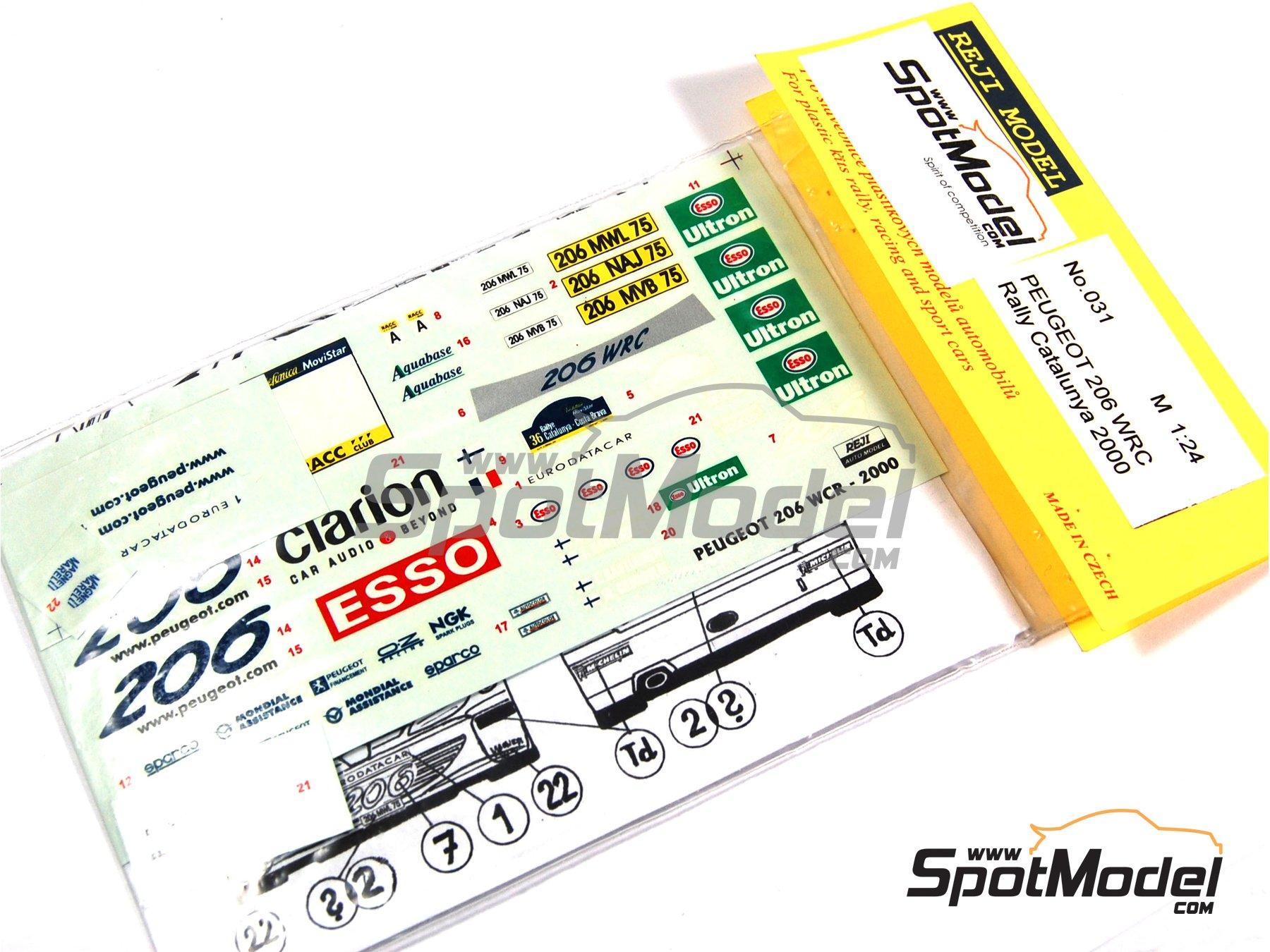 Image 1: Peugeot 206 WRC Esso Ultron Clarion - Rally de Cataluña Costa Dorada RACC 2000 | Calcas de agua en escala1/24 fabricado por Reji Model (ref.REJI-031)