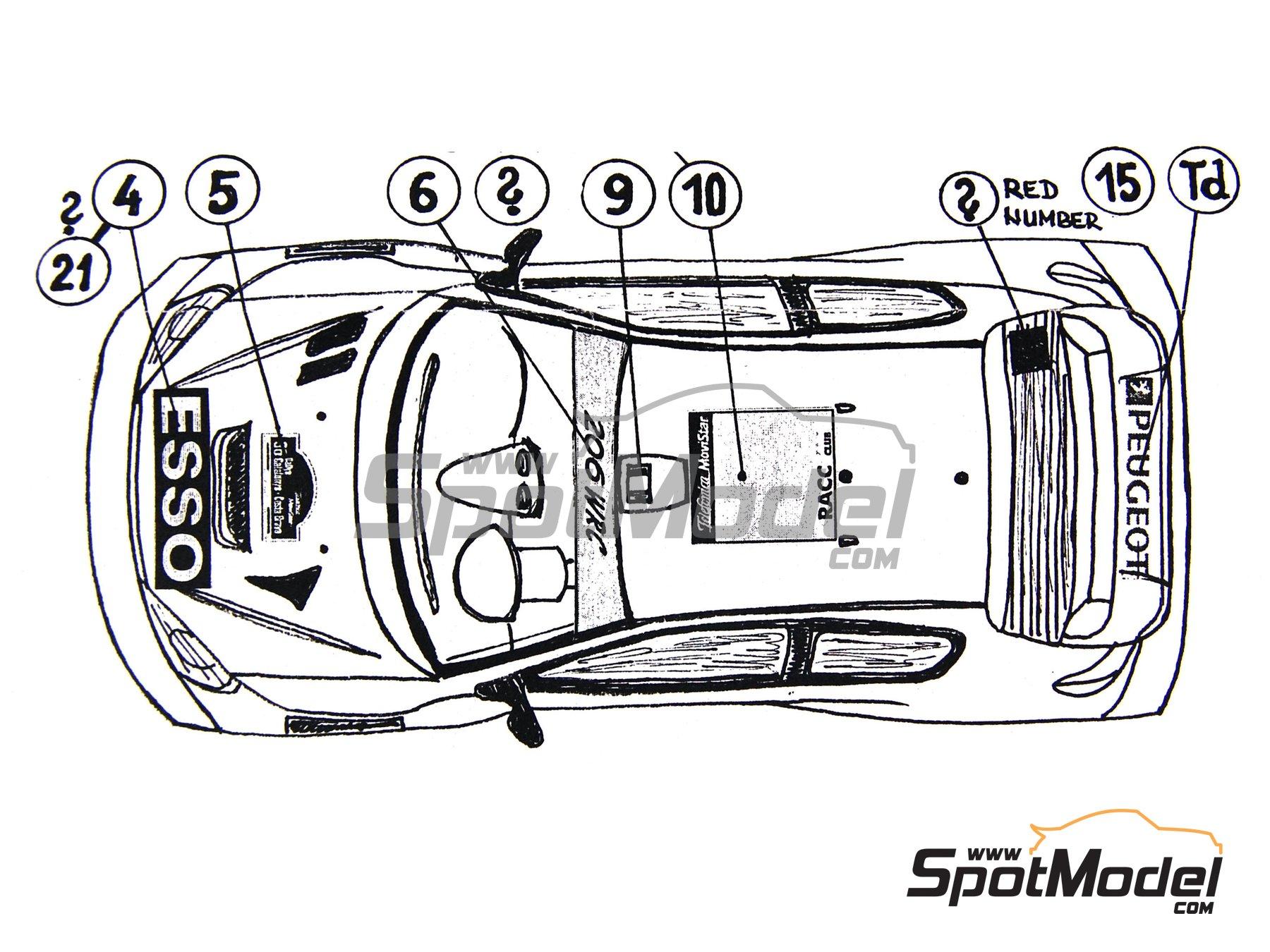 Image 3: Peugeot 206 WRC Esso Ultron Clarion - Rally de Cataluña Costa Dorada RACC 2000 | Calcas de agua en escala1/24 fabricado por Reji Model (ref.REJI-031)