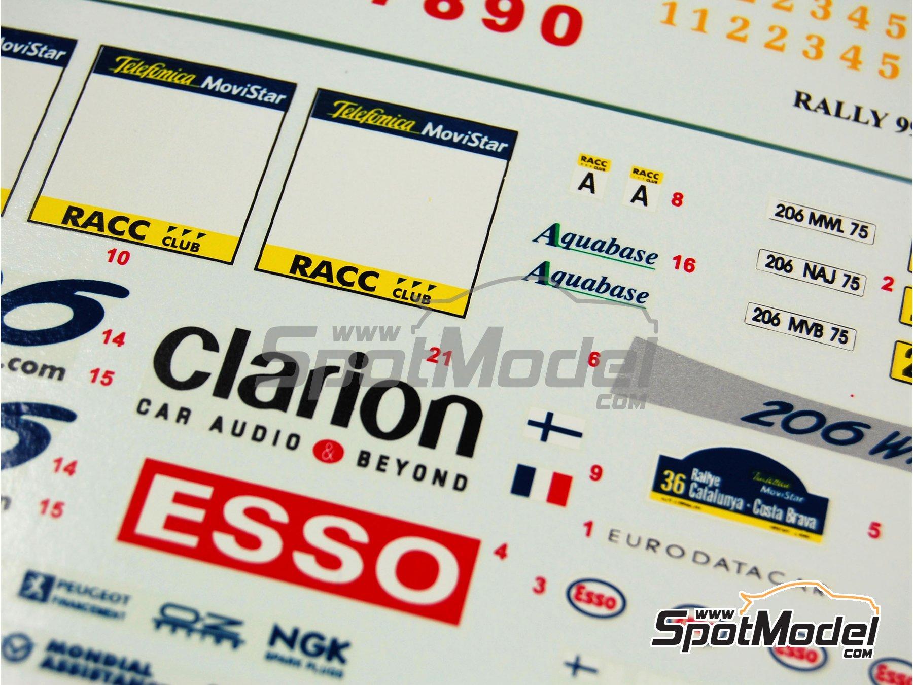 Image 6: Peugeot 206 WRC Esso Ultron Clarion - Rally de Cataluña Costa Dorada RACC 2000 | Calcas de agua en escala1/24 fabricado por Reji Model (ref.REJI-031)