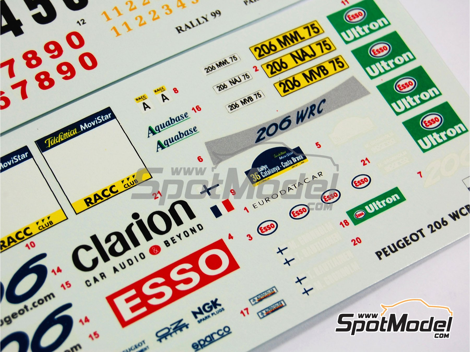 Image 7: Peugeot 206 WRC Esso Ultron Clarion - Catalunya Costa Dorada RACC Rally 2000 | Decals in 1/24 scale manufactured by Reji Model (ref. REJI-031)