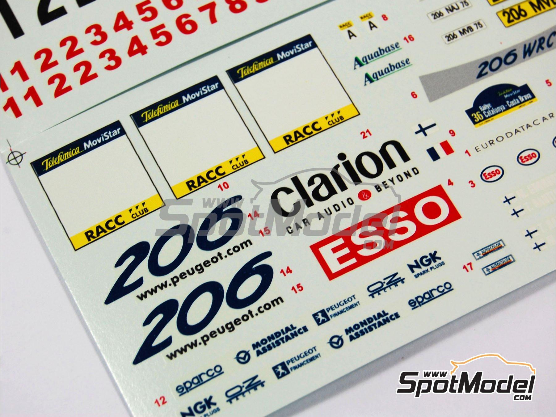 Image 8: Peugeot 206 WRC Esso Ultron Clarion - Rally de Cataluña Costa Dorada RACC 2000 | Calcas de agua en escala1/24 fabricado por Reji Model (ref.REJI-031)