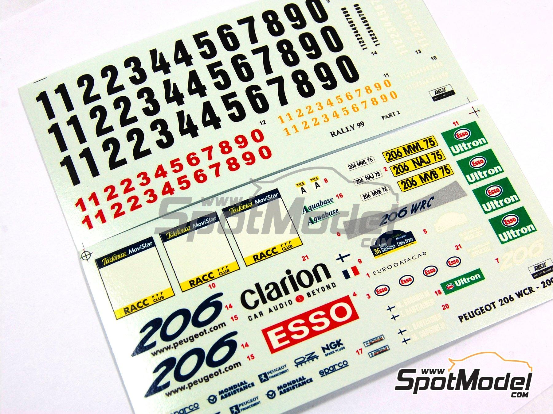 Image 11: Peugeot 206 WRC Esso Ultron Clarion - Rally de Cataluña Costa Dorada RACC 2000 | Calcas de agua en escala1/24 fabricado por Reji Model (ref.REJI-031)