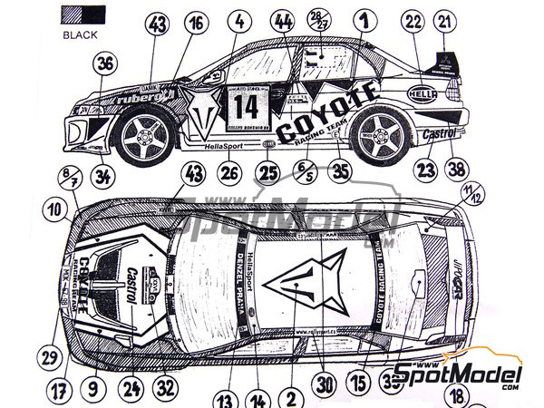 Image 5: Mitsubishi Lancer Evo V Group N Coyote rally team - Bohemia rally 1999 | Marking / livery in 1/24 scale manufactured by Reji Model (ref.REJI-032)