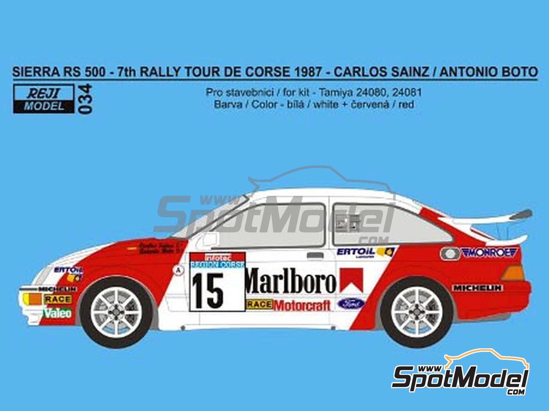 Image 1: Ford Sierra 500 RS Marlboro - Rally Tour de Corse 1987 | Decoración en escala1/24 fabricado por Reji Model (ref.REJI-034)