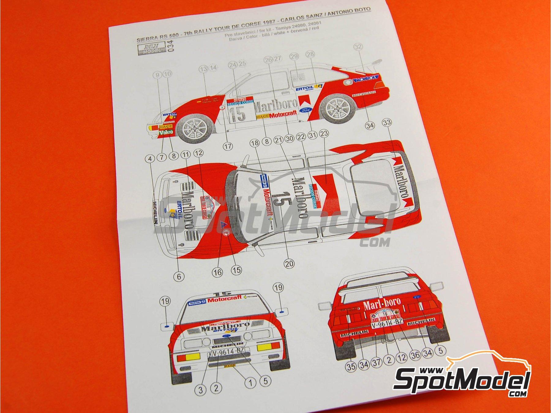 Image 4: Ford Sierra 500 RS Marlboro - Rally Tour de Corse 1987 | Decoración en escala1/24 fabricado por Reji Model (ref.REJI-034)