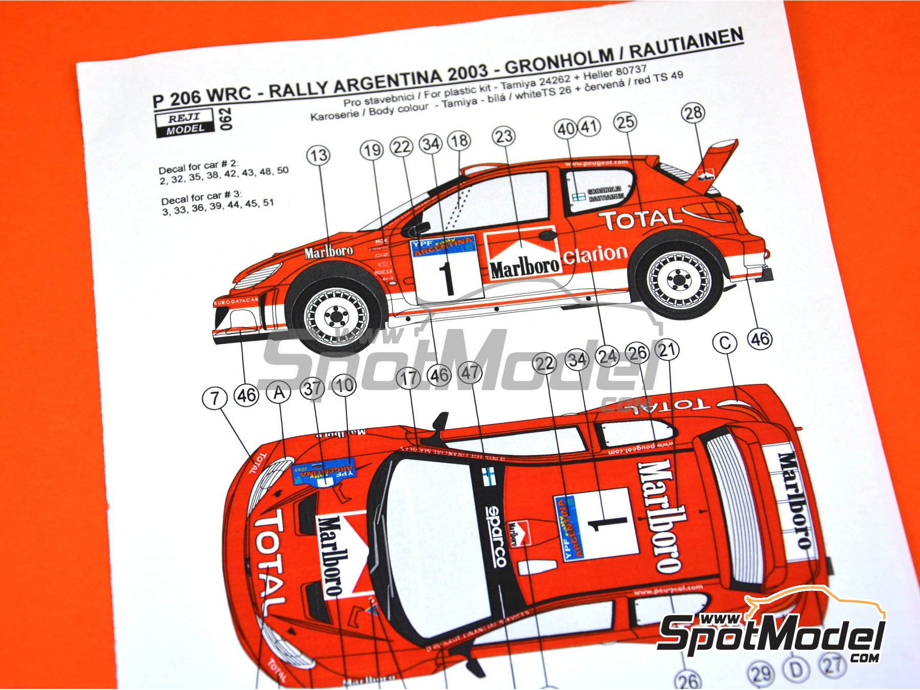 Image 1: Peugeot 206 WRC - Argentina rally 2003 | Marking / livery in 1/24 scale manufactured by Reji Model (ref. REJI-062)