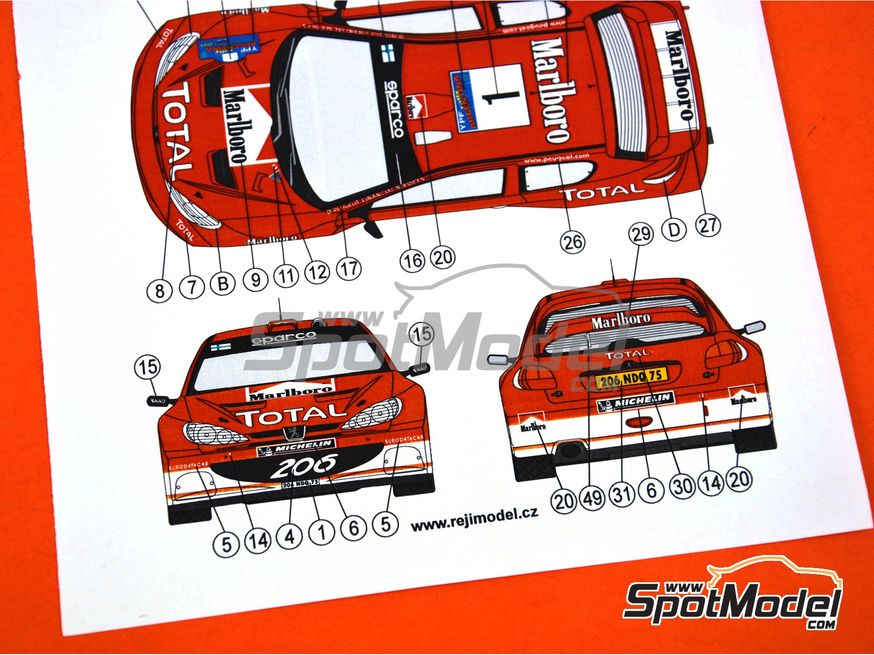 Image 2: Peugeot 206 WRC - Argentina rally 2003 | Marking in 1/24 scale manufactured by Reji Model (ref. REJI-062)