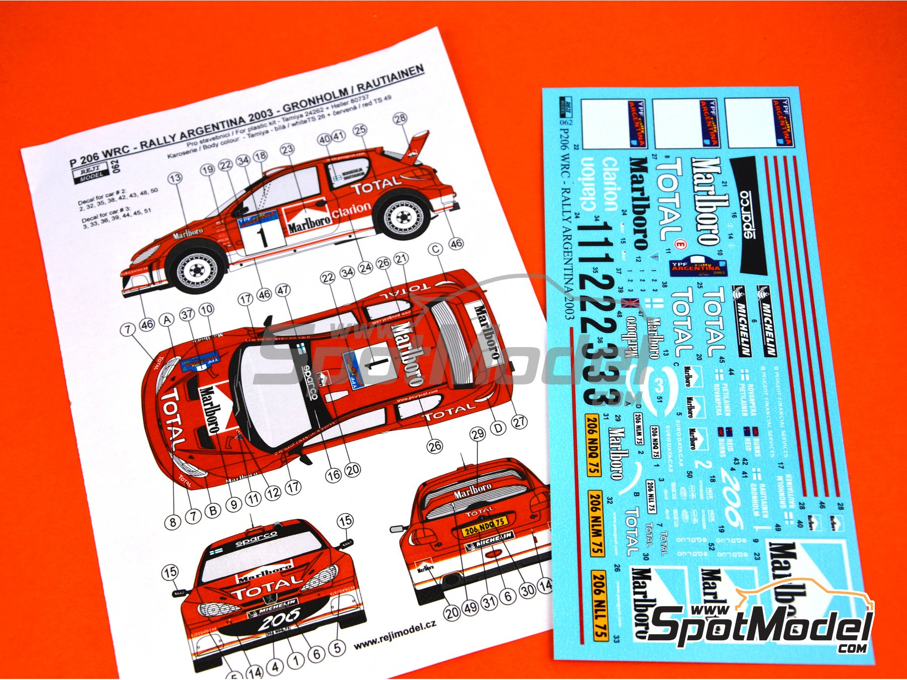 Image 7: Peugeot 206 WRC - Argentina rally 2003 | Marking / livery in 1/24 scale manufactured by Reji Model (ref. REJI-062)