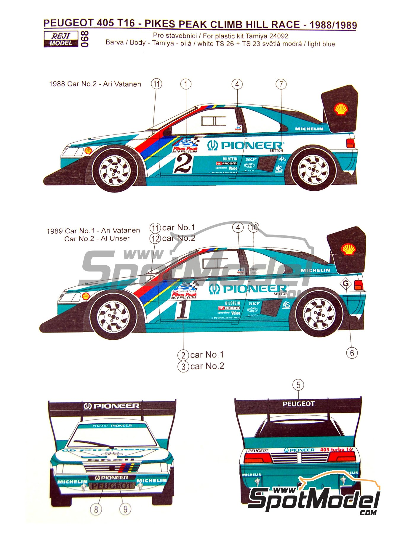 Peugeot 405 T16 Pioneer - Pikes Peak Climb Hill Race 1988 and 1989 | Marking / livery in 1/24 scale manufactured by Reji Model (ref. REJI-068) image