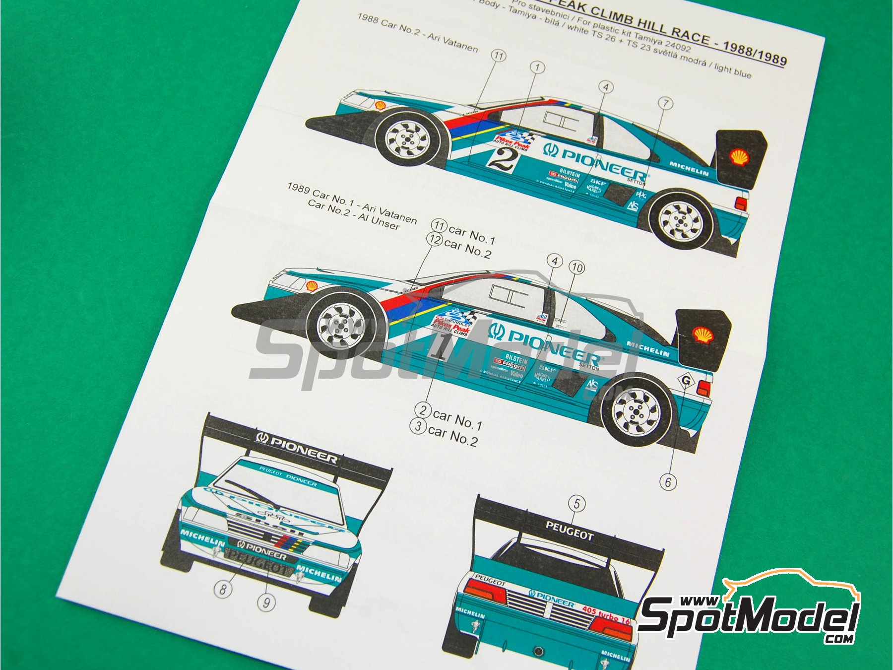 Image 10: Peugeot 405 T16 Pioneer - Pikes Peak Climb Hill Race 1988 and 1989 | Marking / livery in 1/24 scale manufactured by Reji Model (ref. REJI-068)