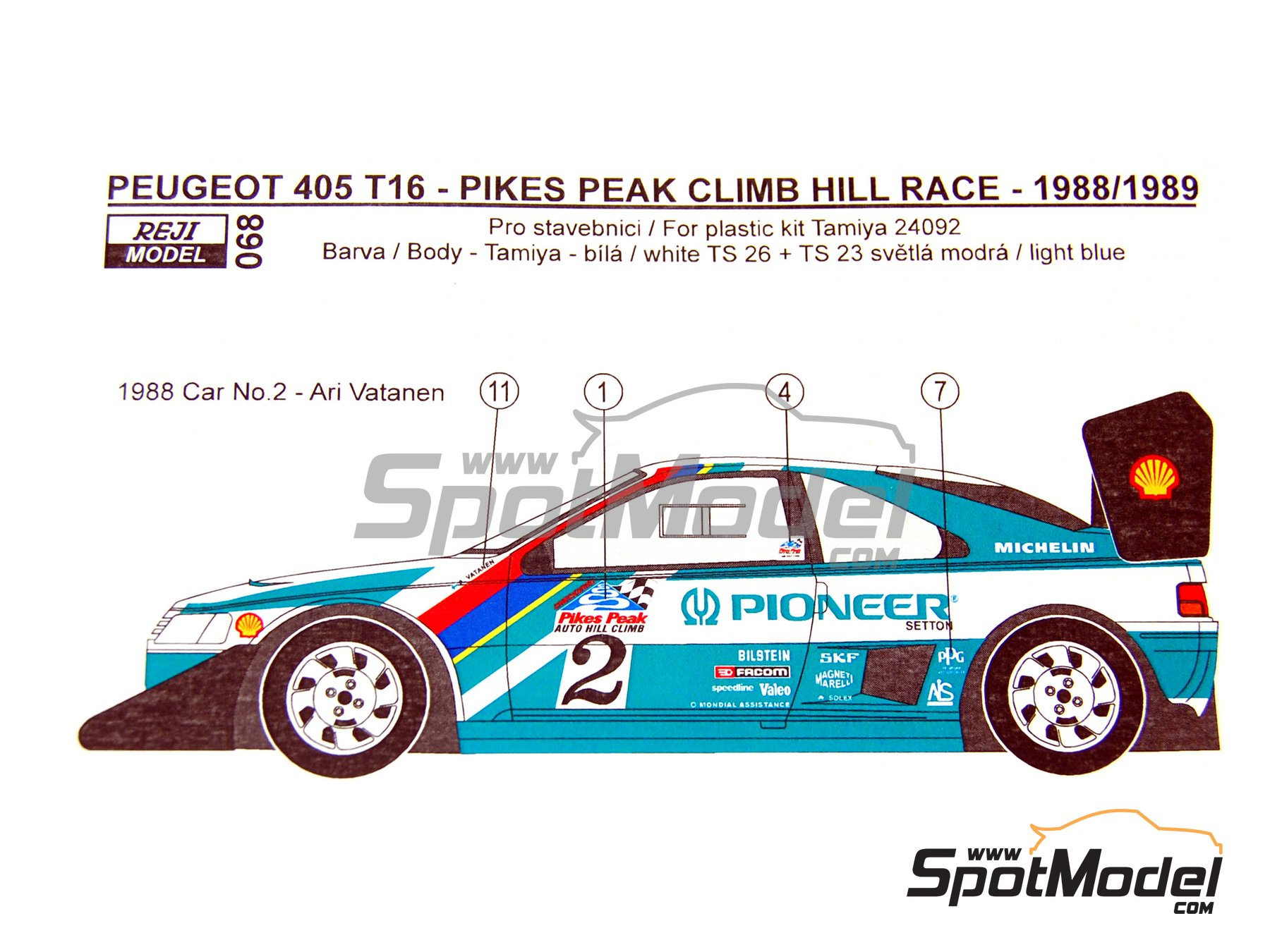 Image 12: Peugeot 405 T16 Pioneer - Pikes Peak Climb Hill Race 1988 and 1989 | Marking / livery in 1/24 scale manufactured by Reji Model (ref. REJI-068)