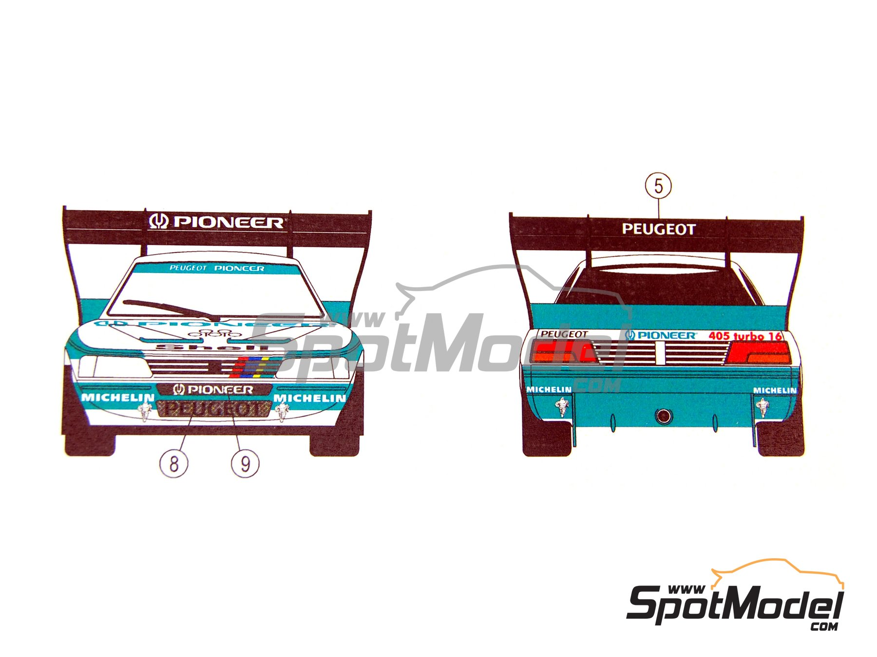 Image 14: Peugeot 405 T16 Pioneer - Pikes Peak Climb Hill Race 1988 and 1989 | Marking / livery in 1/24 scale manufactured by Reji Model (ref. REJI-068)