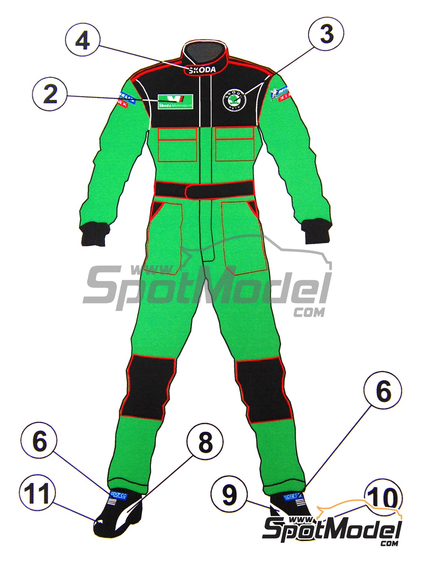 Skoda Motorsport Team Mechanic crew | Marking / livery in 1/24 scale manufactured by Reji Model (ref. REJI-091) image