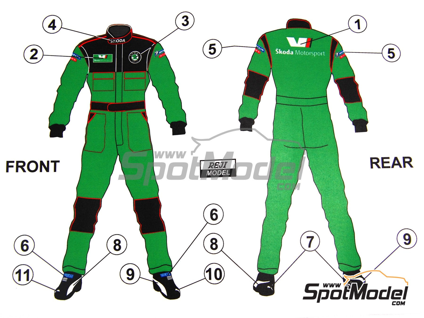 Image 1: Skoda Motorsport Team Mechanic crew | Marking / livery in 1/24 scale manufactured by Reji Model (ref. REJI-091)