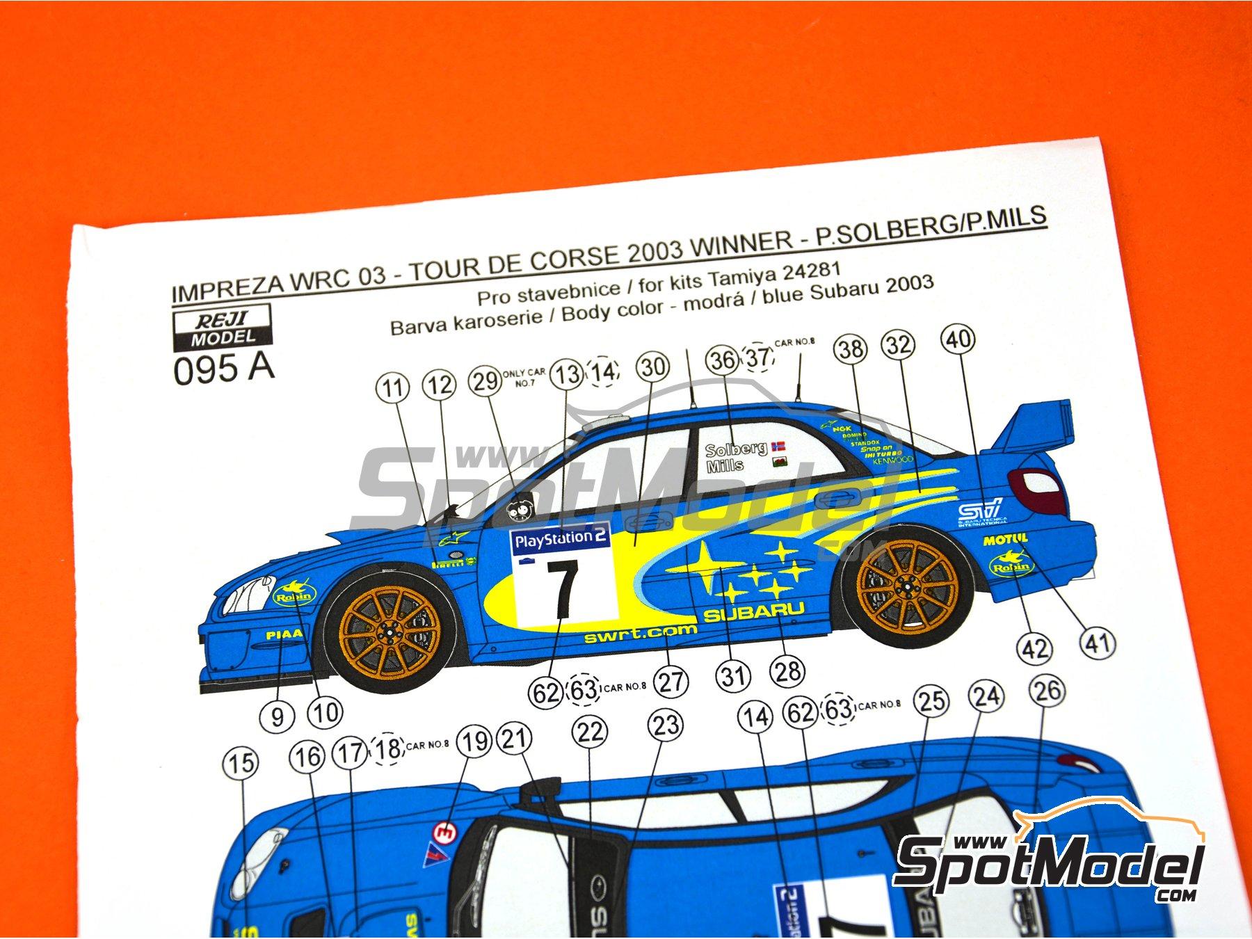 Image 3: Subaru Impreza WRC - Rally Tour de Corse 2003 | Decoración en escala1/24 fabricado por Reji Model (ref.REJI-095A)