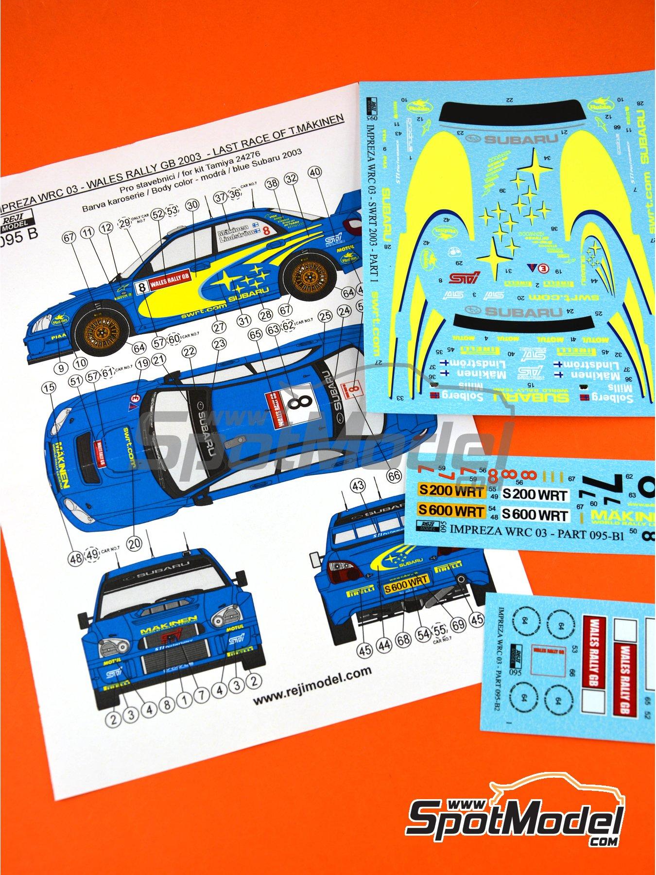 Subaru Impreza WRC - Rally de Gales 2003 | Decoración en escala1/24 fabricado por Reji Model (ref.REJI-095B) image
