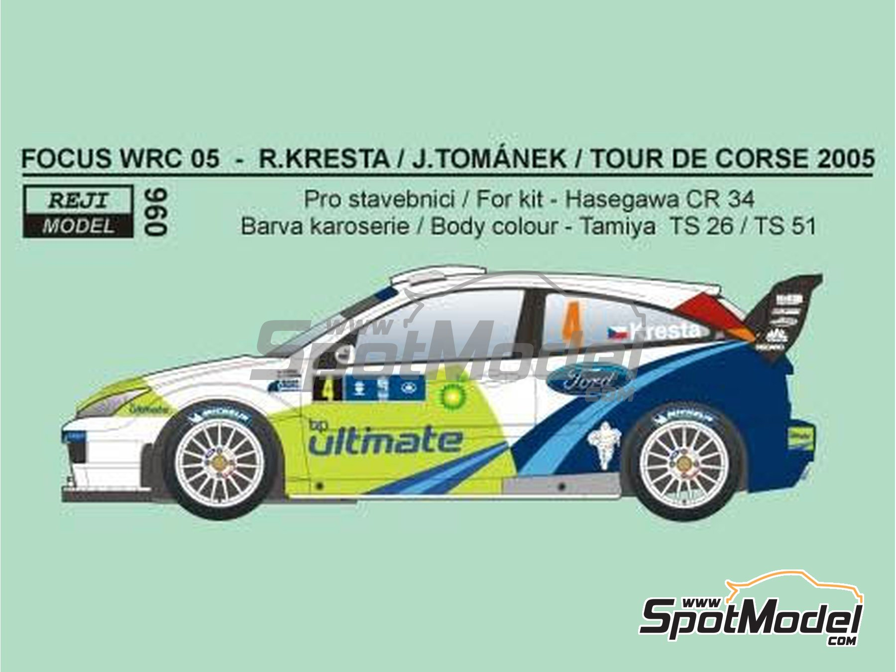 Image 1: Ford Focus WRC BP - Tour de Corse 2005 | Marking / livery in 1/24 scale manufactured by Reji Model (ref.REJI-096)