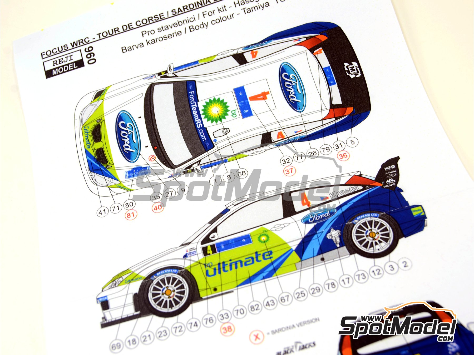 Image 7: Ford Focus WRC BP - Tour de Corse 2005 | Marking / livery in 1/24 scale manufactured by Reji Model (ref.REJI-096)