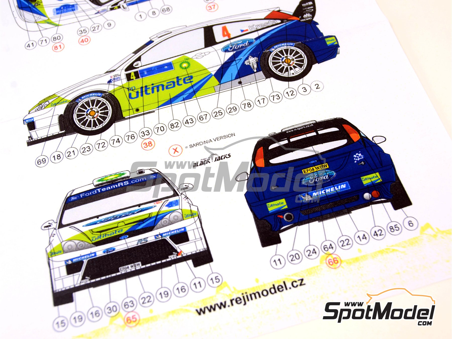 Image 8: Ford Focus WRC BP - Tour de Corse 2005 | Marking / livery in 1/24 scale manufactured by Reji Model (ref.REJI-096)