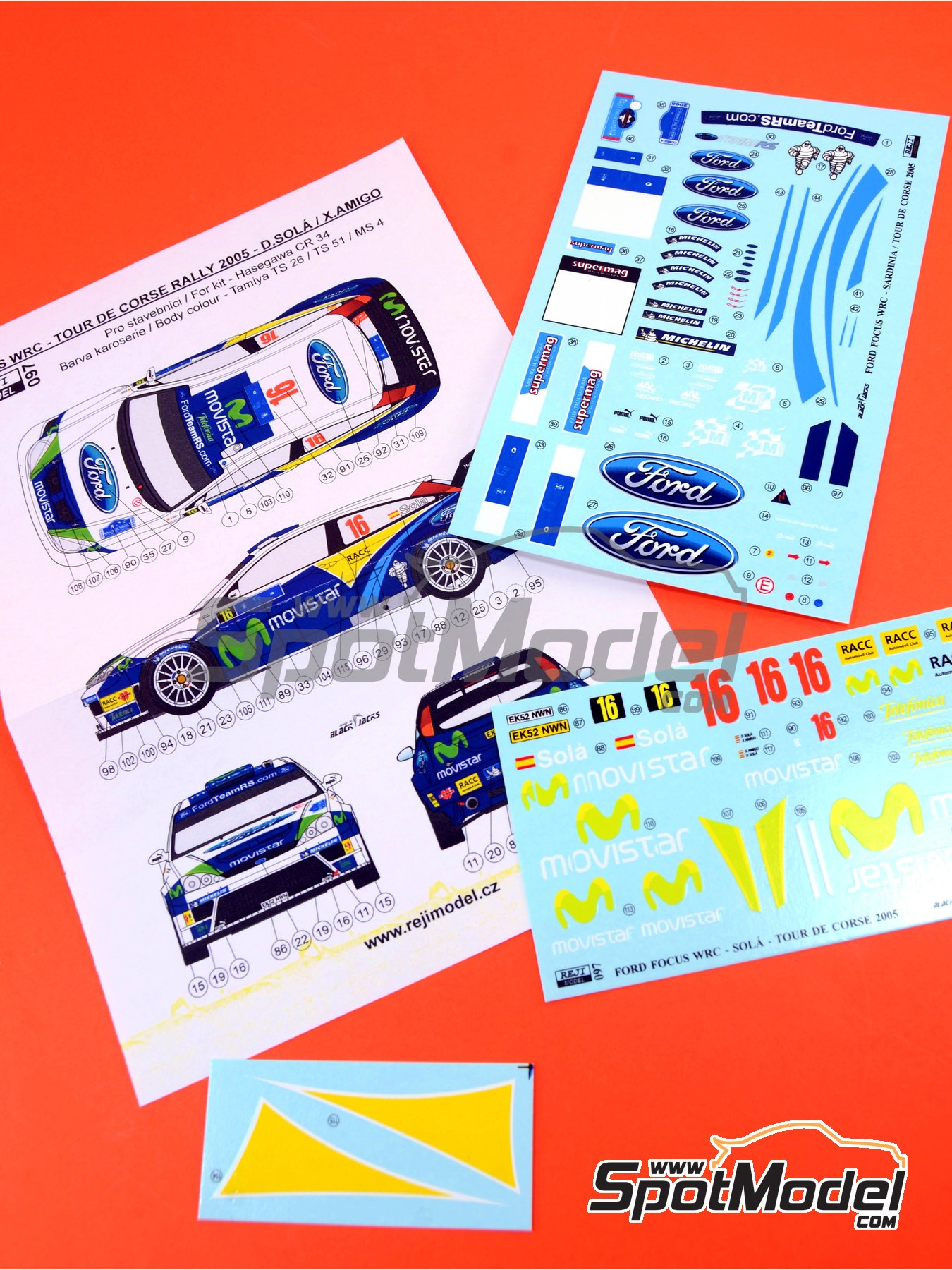 Ford Focus WRC Movistar - Tour de Corse 2005 | Marking / livery in 1/24 scale manufactured by Reji Model (ref.REJI-097) image