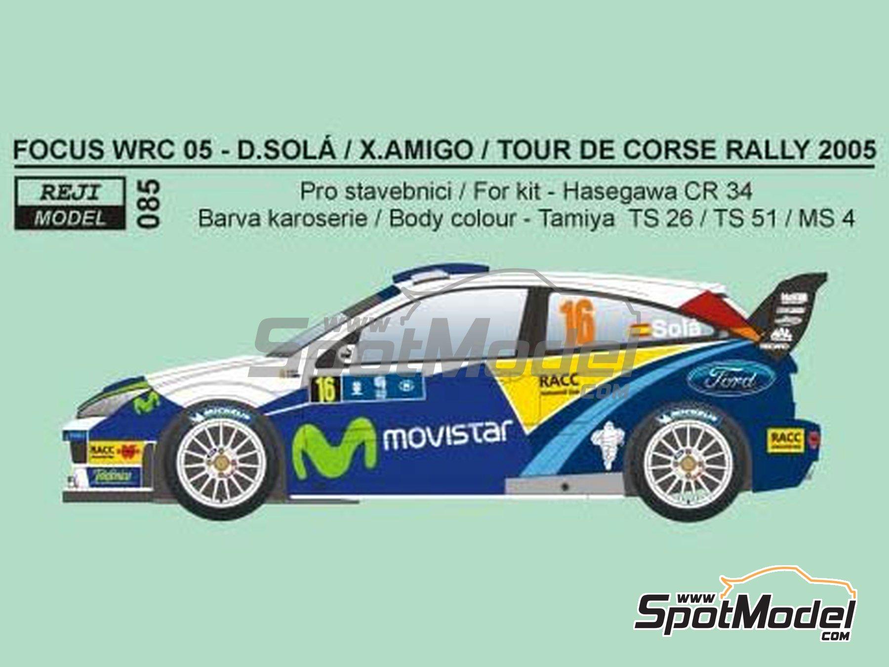 Image 2: Ford Focus WRC Movistar - Tour de Corse 2005 | Marking / livery in 1/24 scale manufactured by Reji Model (ref.REJI-097)