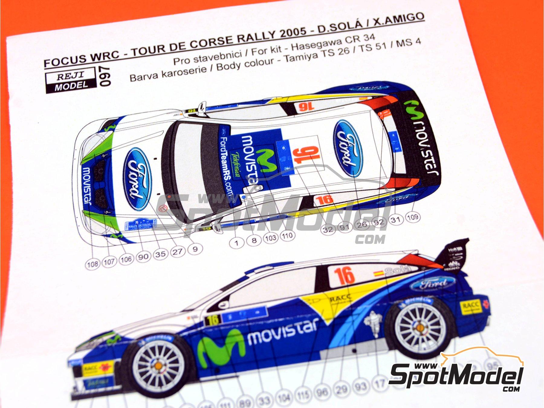 Image 8: Ford Focus WRC Movistar - Tour de Corse 2005 | Marking / livery in 1/24 scale manufactured by Reji Model (ref.REJI-097)