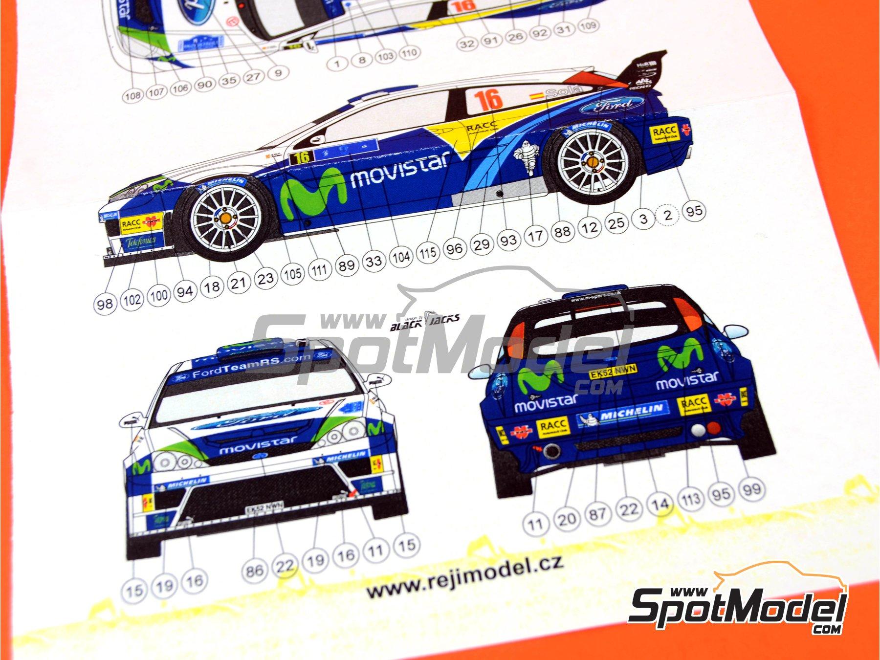 Image 9: Ford Focus WRC Movistar - Tour de Corse 2005 | Marking / livery in 1/24 scale manufactured by Reji Model (ref.REJI-097)