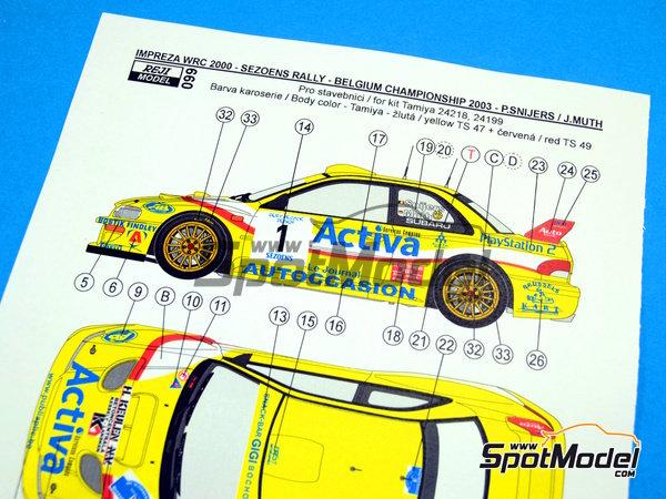Image 9: Subaru Impreza WRC Activa - Rally Sezoens Belgica 2003 | Decoración en escala1/24 fabricado por Reji Model (ref.REJI-099)