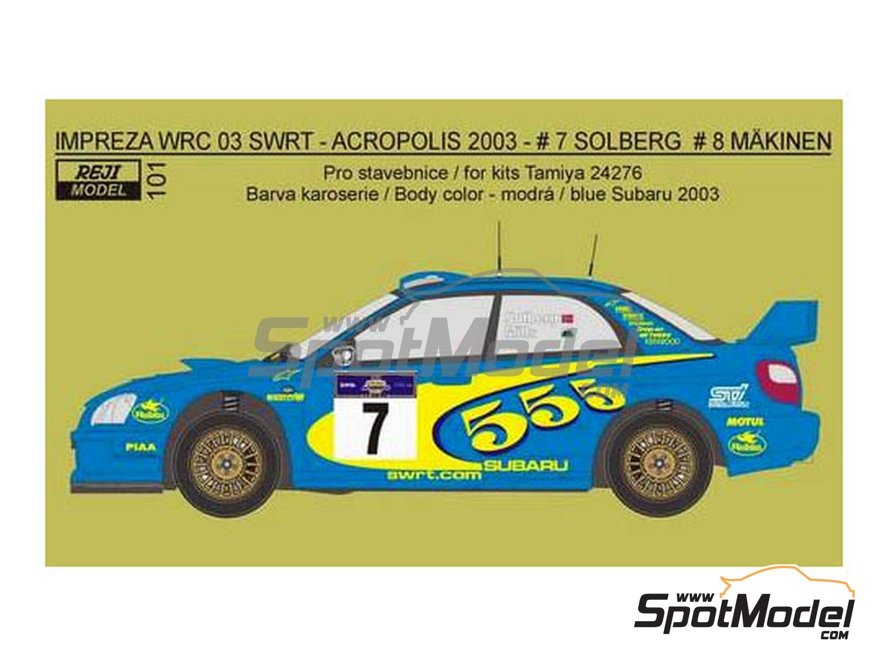 Image 1: Subaru Impreza WRC 03 SWRT 555 - Rally de Acropolis 2003 | Decoración en escala1/24 fabricado por Reji Model (ref.REJI-101)