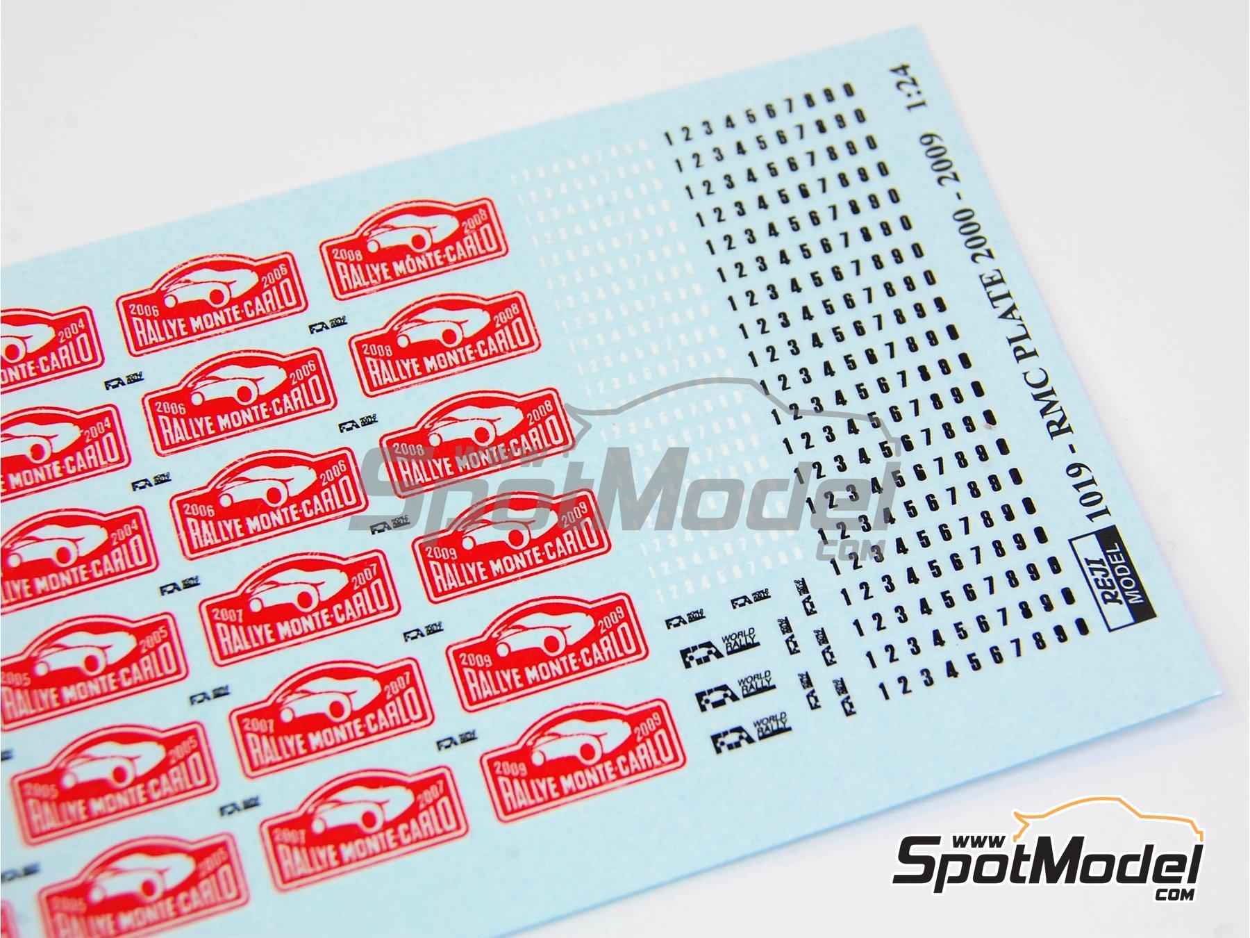Image 6: Placas de Rally coloreadas - Rally de Montecarlo 2000, 2001, 2002, 2003, 2004, 2005, 2006, 2007, 2008 y 2009   Set de mejora y detallado en escala1/24 fabricado por Reji Model (ref.REJI-1019)