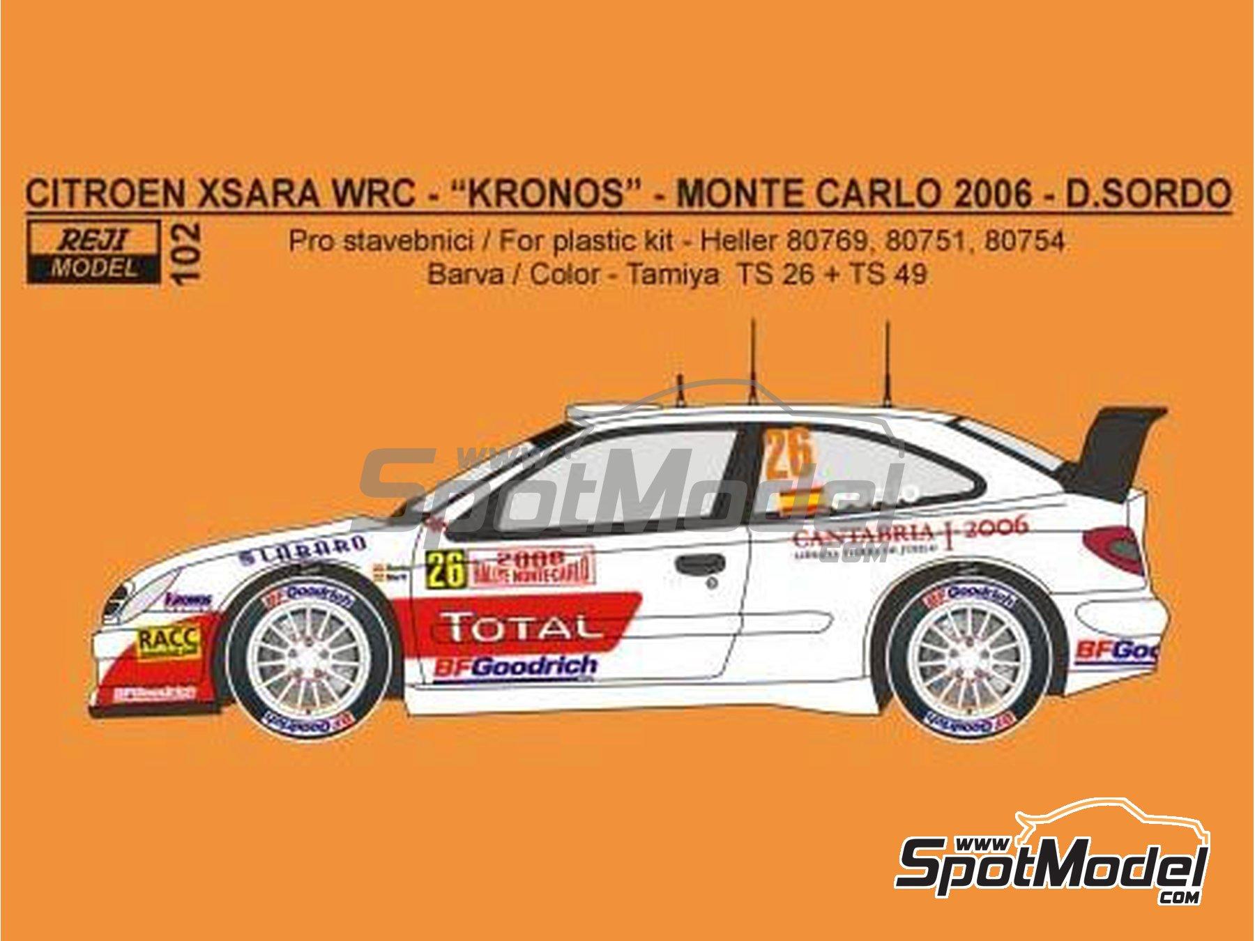Image 1: Citroen Xsara WRC Kronos - Montecarlo Rally, Svezia Sweden Rally 2006 | Marking / livery in 1/24 scale manufactured by Reji Model (ref.REJI-102)