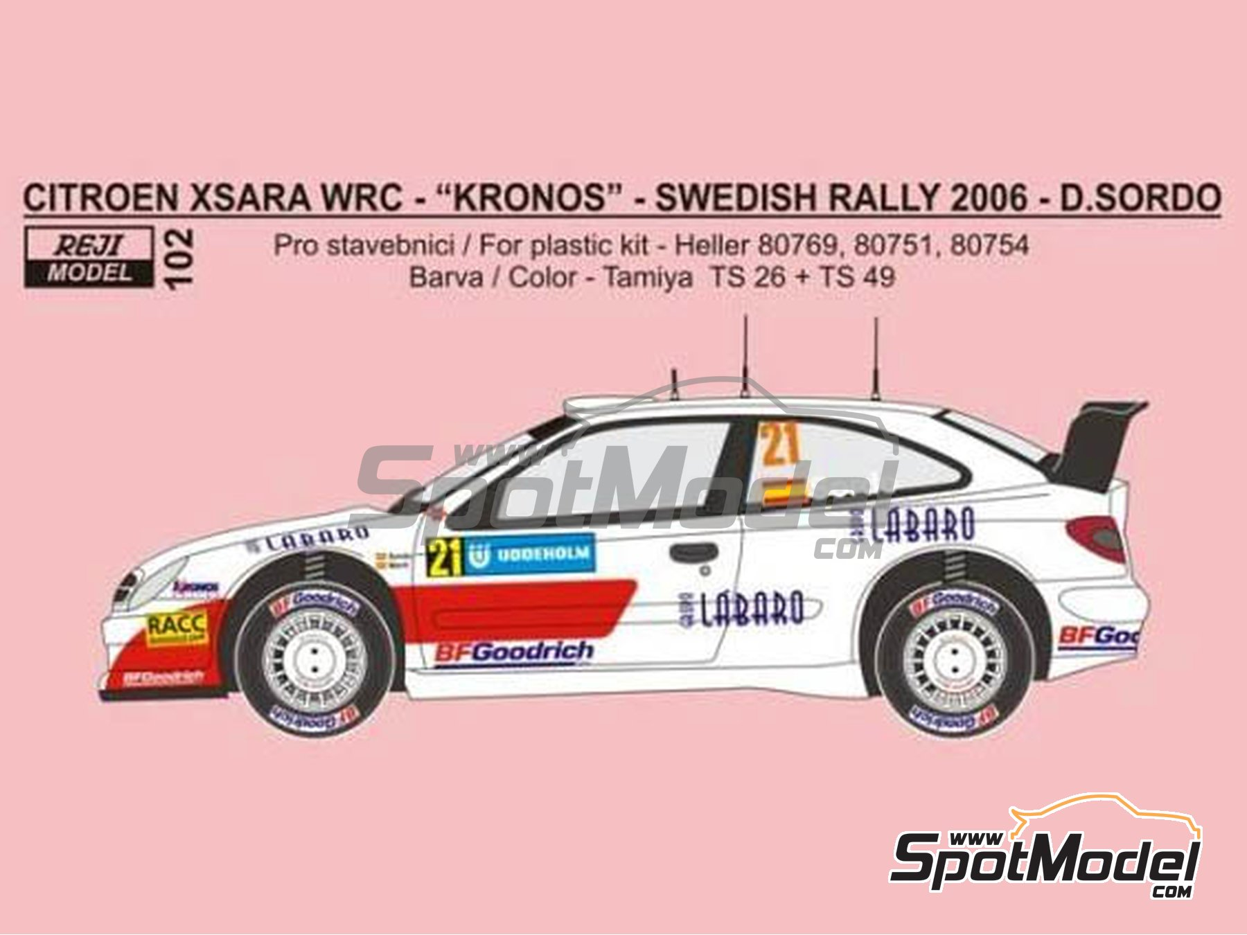 Image 2: Citroen Xsara WRC Kronos - Montecarlo Rally, Svezia Sweden Rally 2006 | Marking / livery in 1/24 scale manufactured by Reji Model (ref.REJI-102)