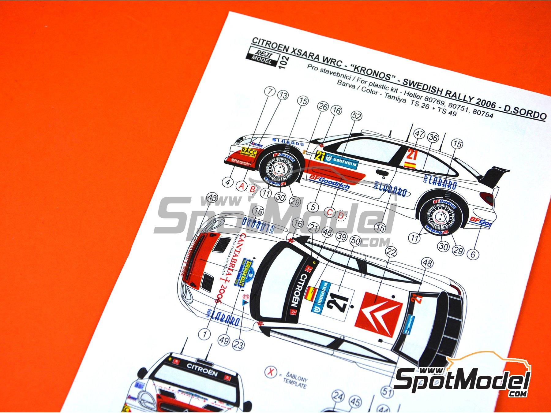 Image 5: Citroen Xsara WRC Kronos - Montecarlo Rally, Svezia Sweden Rally 2006 | Marking / livery in 1/24 scale manufactured by Reji Model (ref.REJI-102)