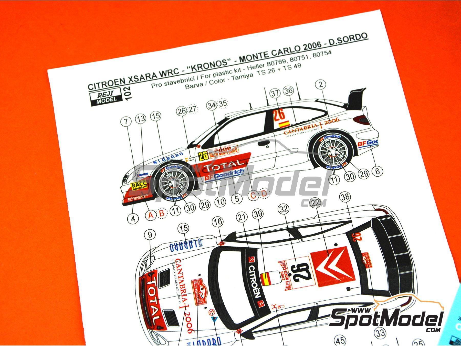 Image 7: Citroen Xsara WRC Kronos - Montecarlo Rally, Svezia Sweden Rally 2006 | Marking / livery in 1/24 scale manufactured by Reji Model (ref.REJI-102)