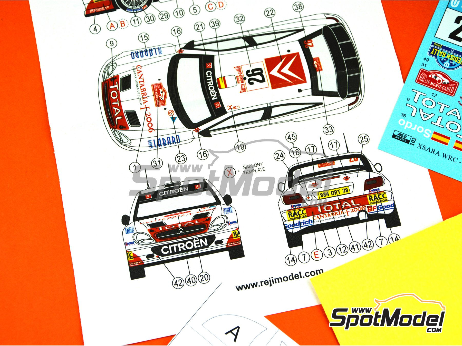 Image 8: Citroen Xsara WRC Kronos - Montecarlo Rally, Svezia Sweden Rally 2006 | Marking / livery in 1/24 scale manufactured by Reji Model (ref.REJI-102)