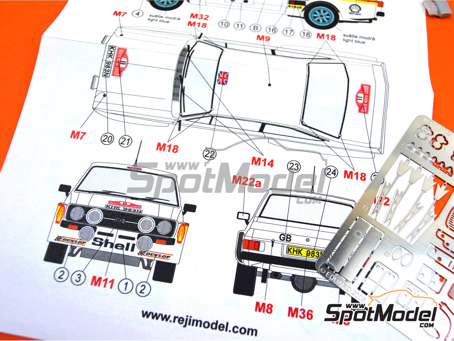 Image 9: Ford Escort Mk. II RS1800 Shell - Montecarlo Rally 1976 | Marking / livery in 1/24 scale manufactured by Reji Model (ref.REJI-103)