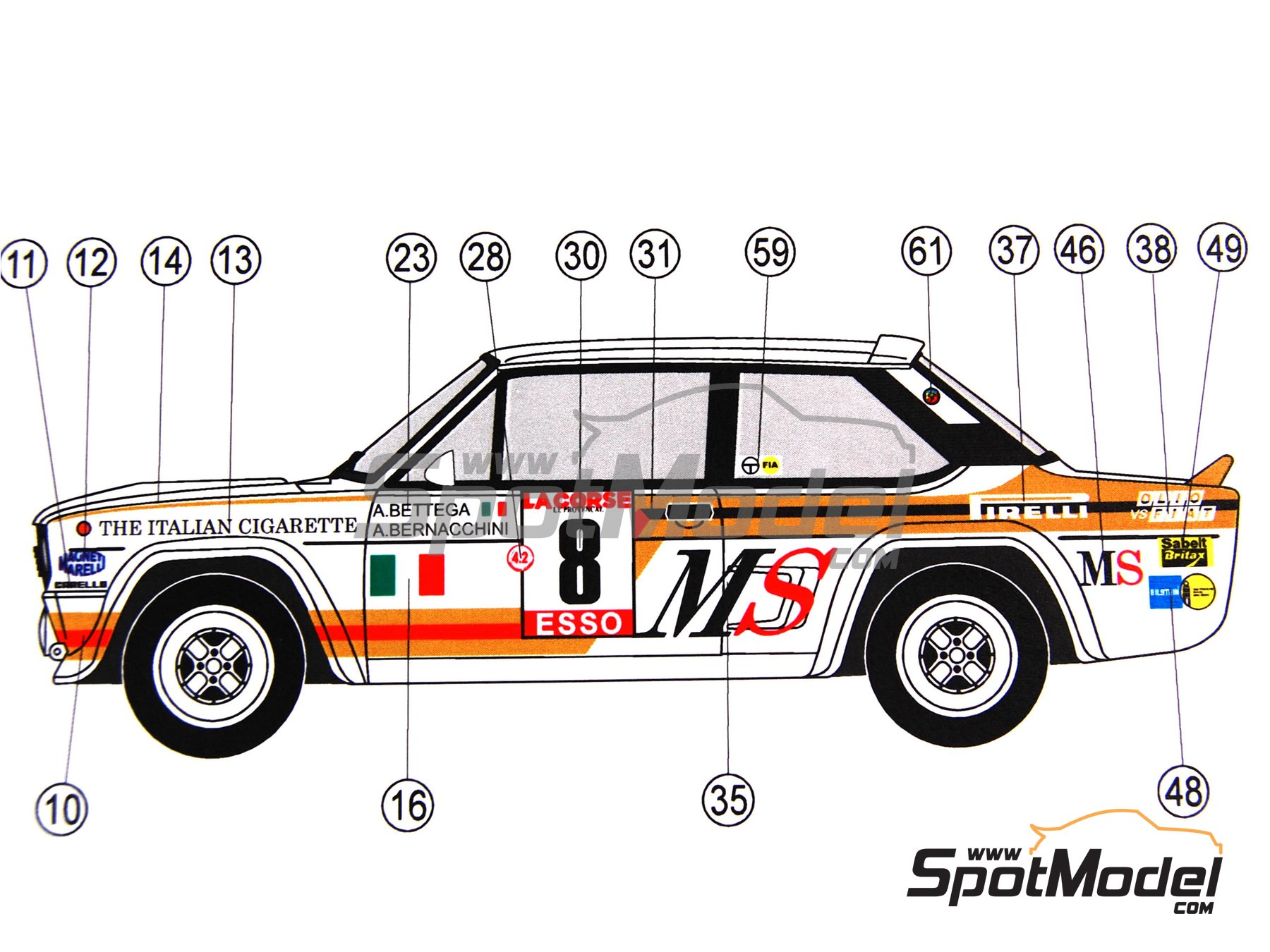 Image 7: Fiat 131 Abarth - Montecarlo Rally, Tour de Corse 1980 - 1981 | Marking / livery in 1/24 scale manufactured by Reji Model (ref. REJI-115)