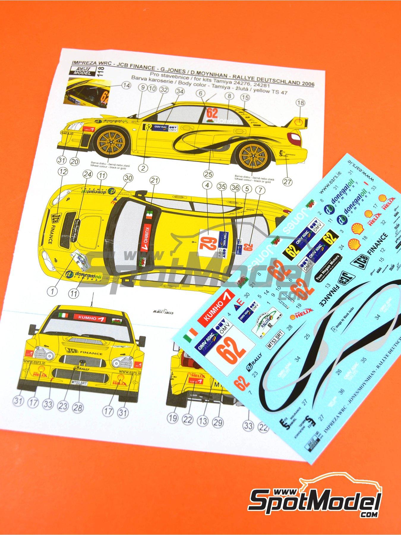 Subaru Impreza WRC JCB Finance - Rally de Alemania ADAC 2006 | Decoración en escala1/24 fabricado por Reji Model (ref.REJI-118) image