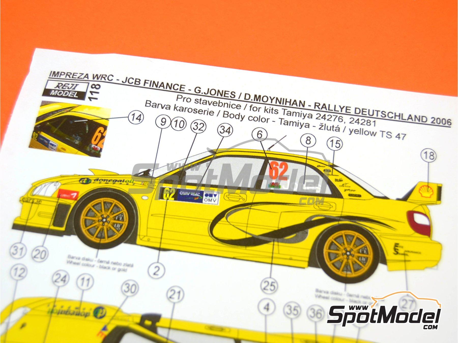 Image 6: Subaru Impreza WRC JCB Finance - Rally de Alemania ADAC 2006 | Decoración en escala1/24 fabricado por Reji Model (ref.REJI-118)