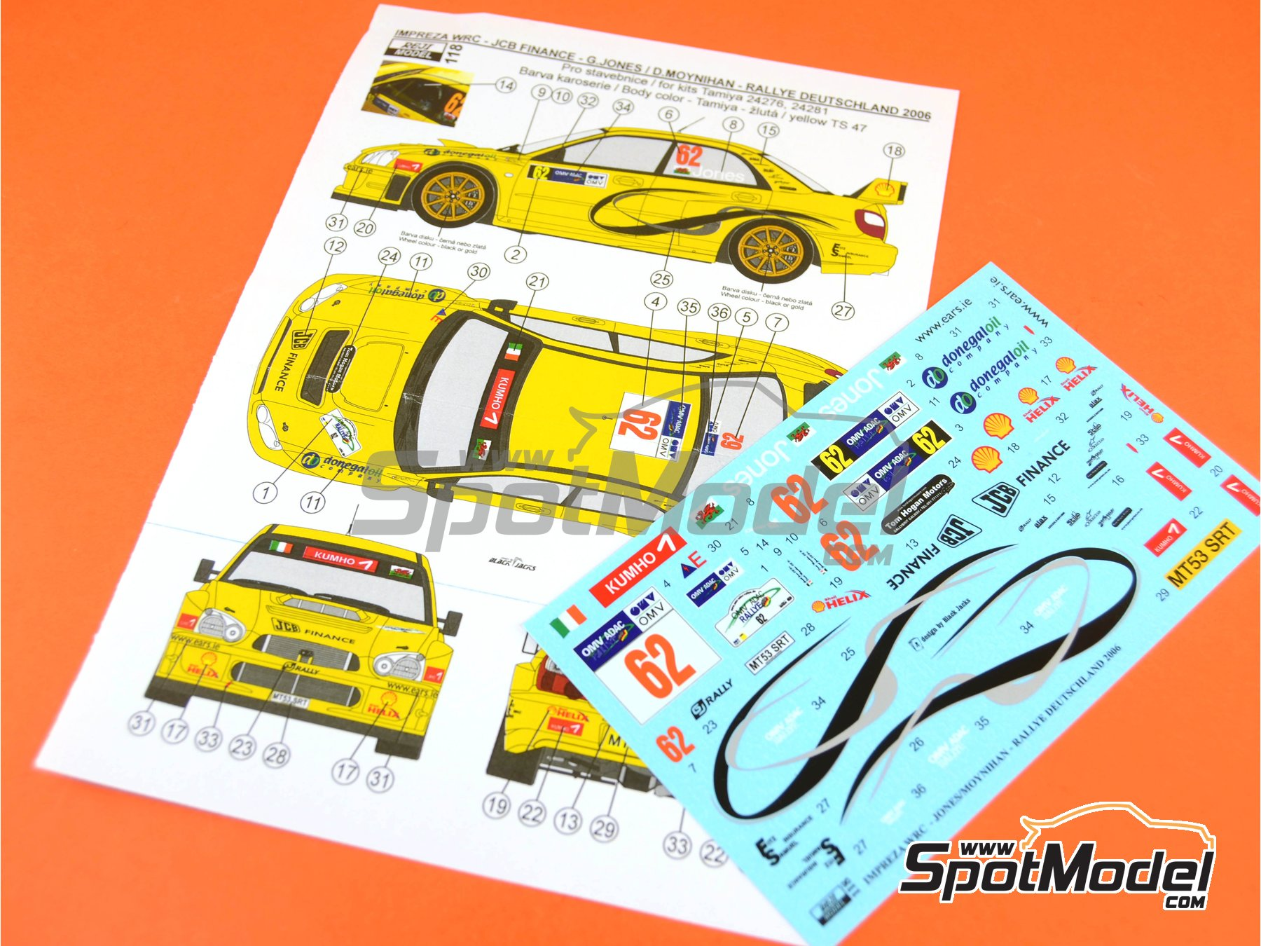 Image 9: Subaru Impreza WRC JCB Finance - Rally de Alemania ADAC 2006 | Decoración en escala1/24 fabricado por Reji Model (ref.REJI-118)