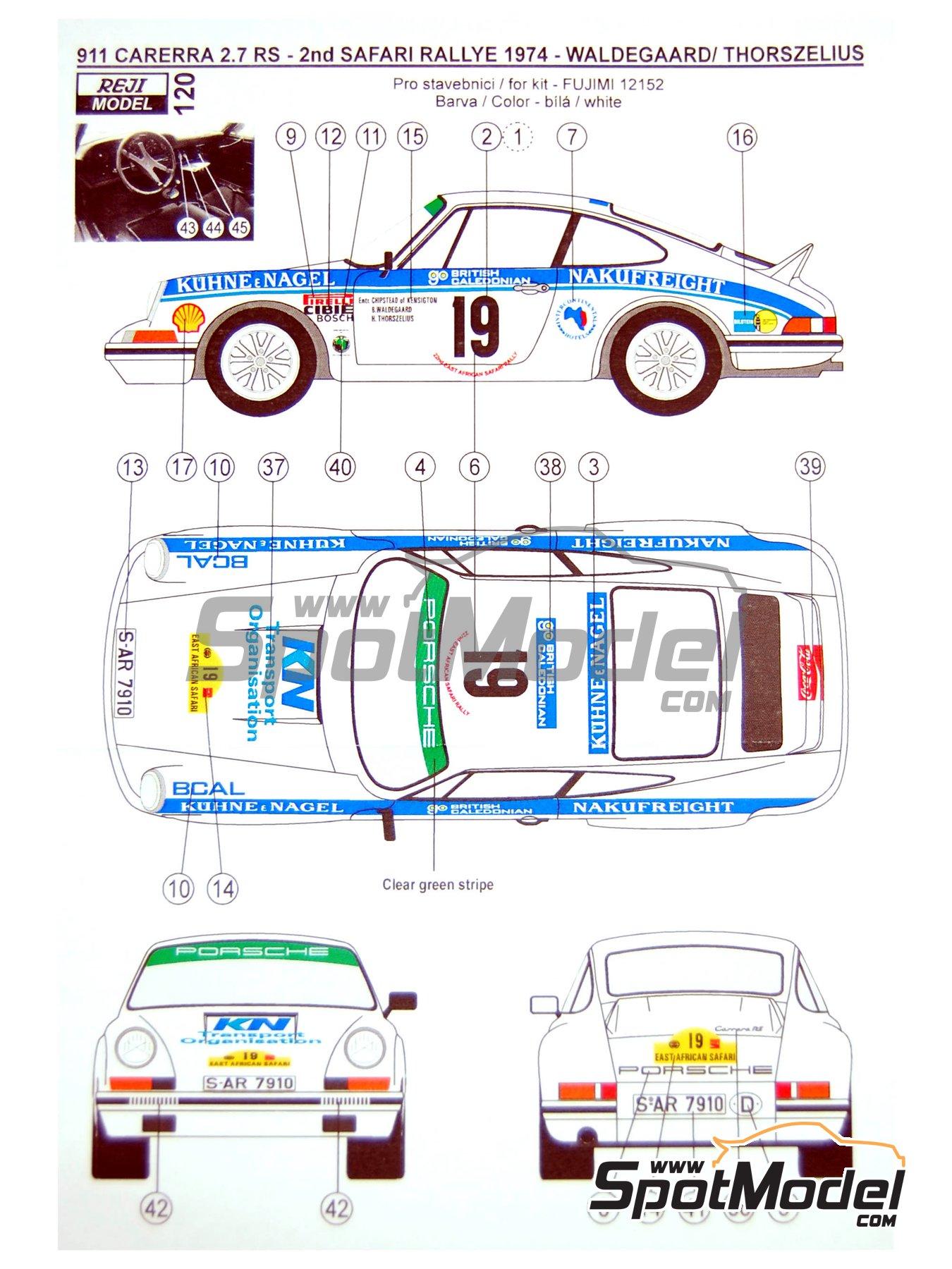 Porsche 911 2.7 RS Nakufreight - Rally Safari 1974 | Decoración en escala1/24 fabricado por Reji Model (ref.REJI-120) image