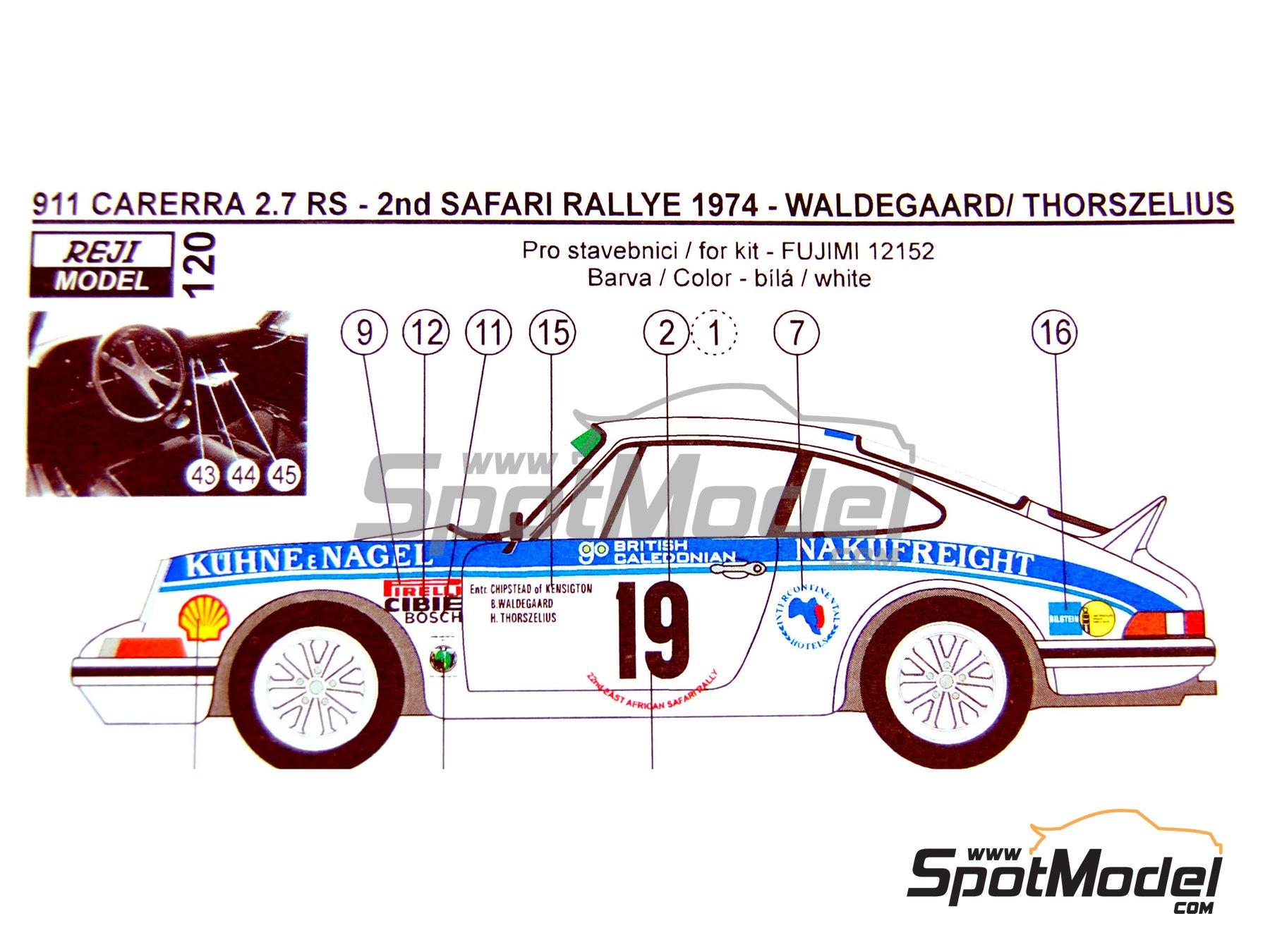 Image 1: Porsche 911 2.7 RS Nakufreight - Rally Safari 1974 | Decoración en escala1/24 fabricado por Reji Model (ref.REJI-120)