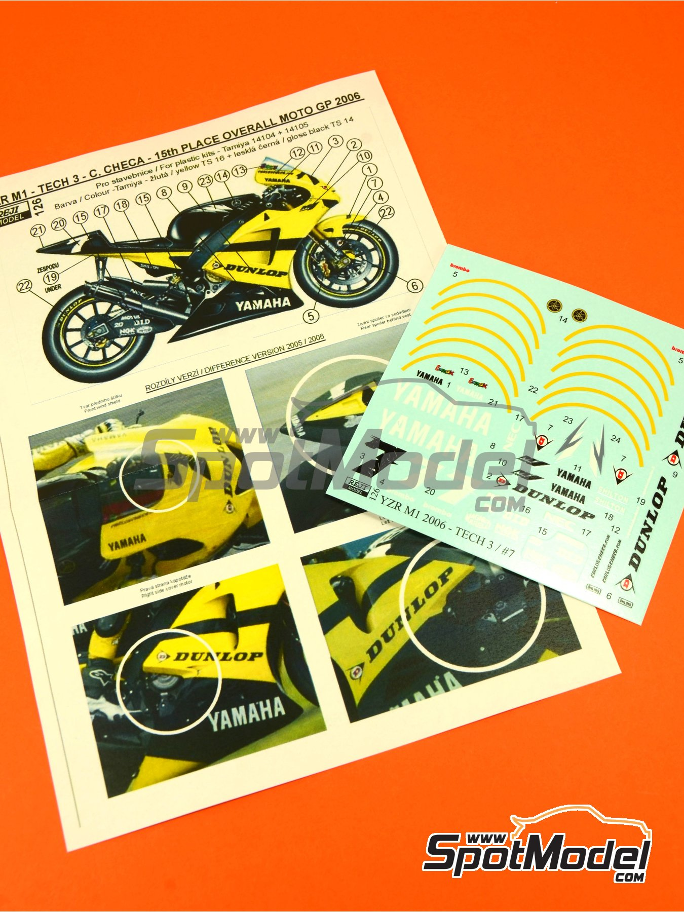 Yamaha YZR-M1 Tech3 Dunlop - Motorcycle World Championship 2006   Marking / livery in 1/12 scale manufactured by Reji Model (ref.REJI-126) image